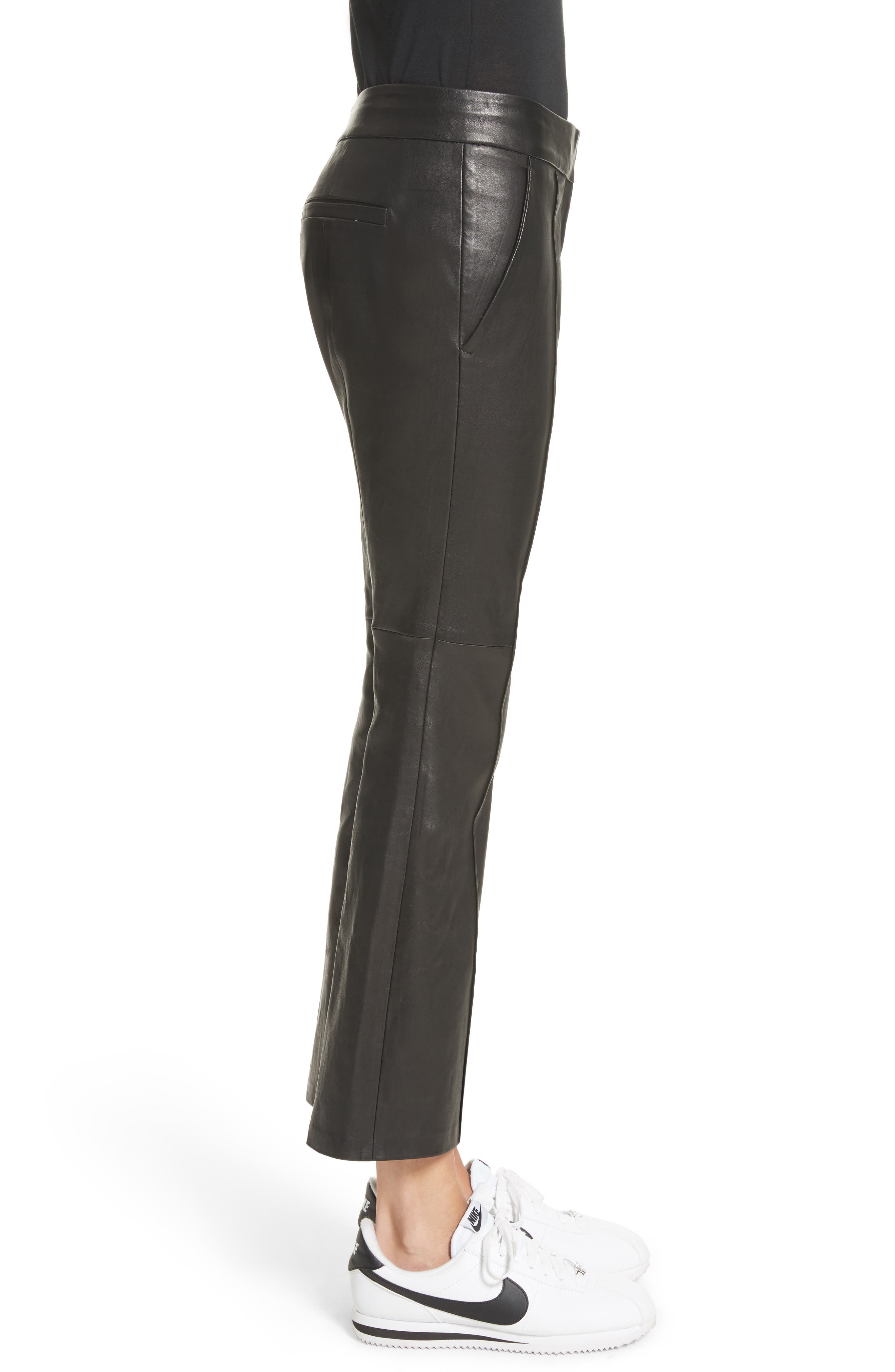 Alternate Image 4  - A.L.C. Evan Lambskin Leather Flare Crop Pants
