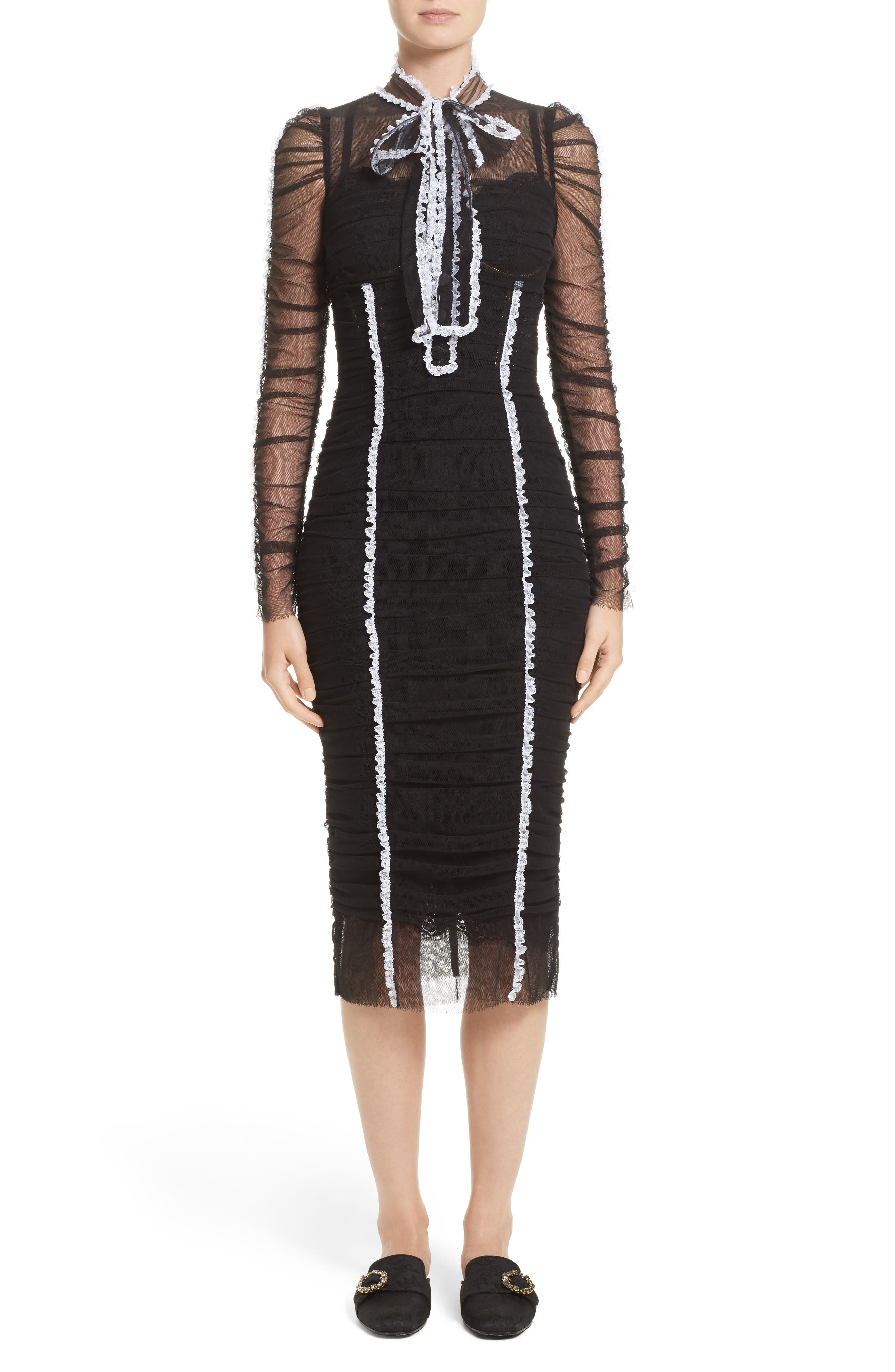 Dolce & Gabbana Contrast Piping Ruched Tulle Dress