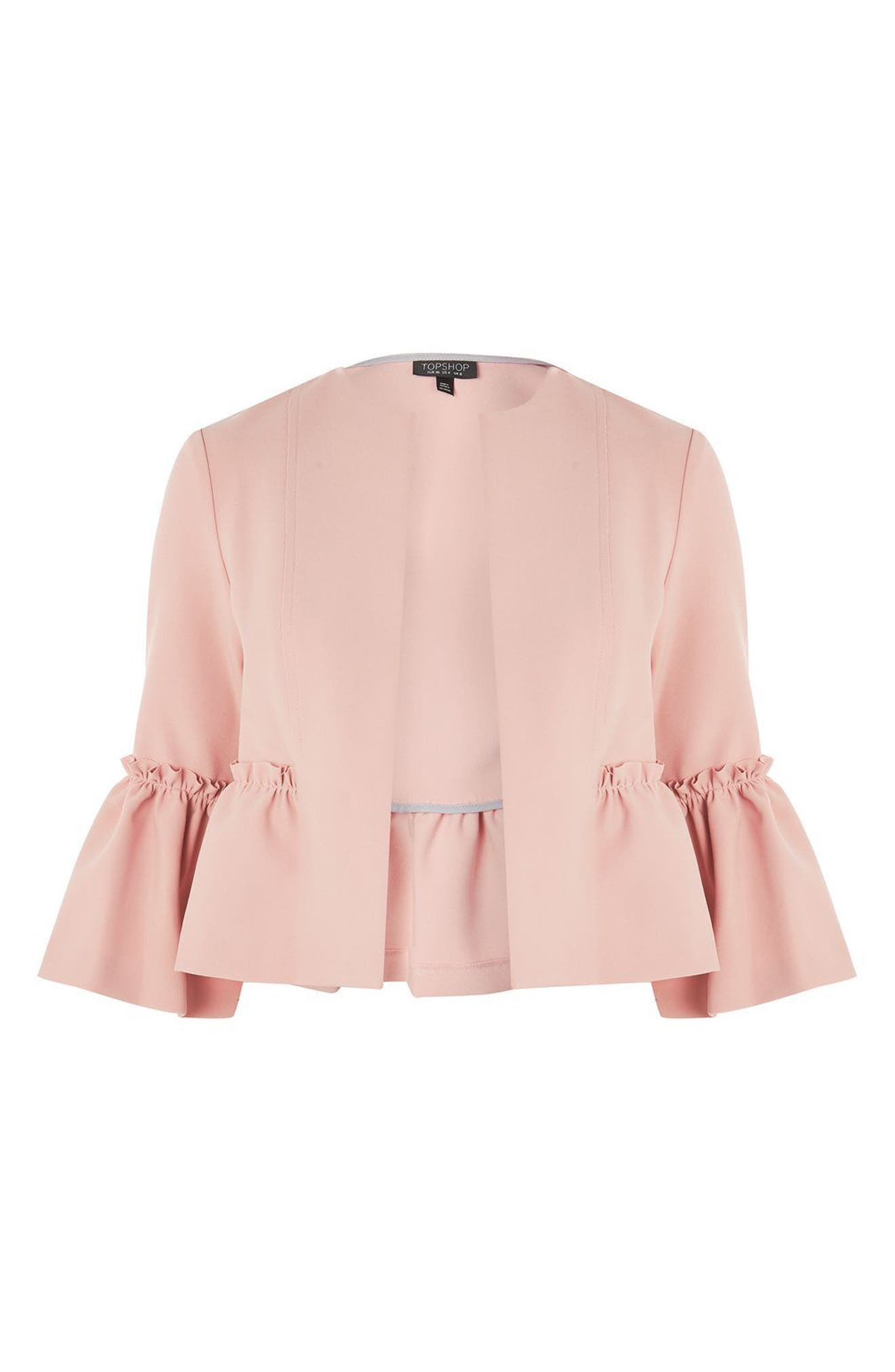 Ruffle Crop Jacket,                             Alternate thumbnail 4, color,                             Blush