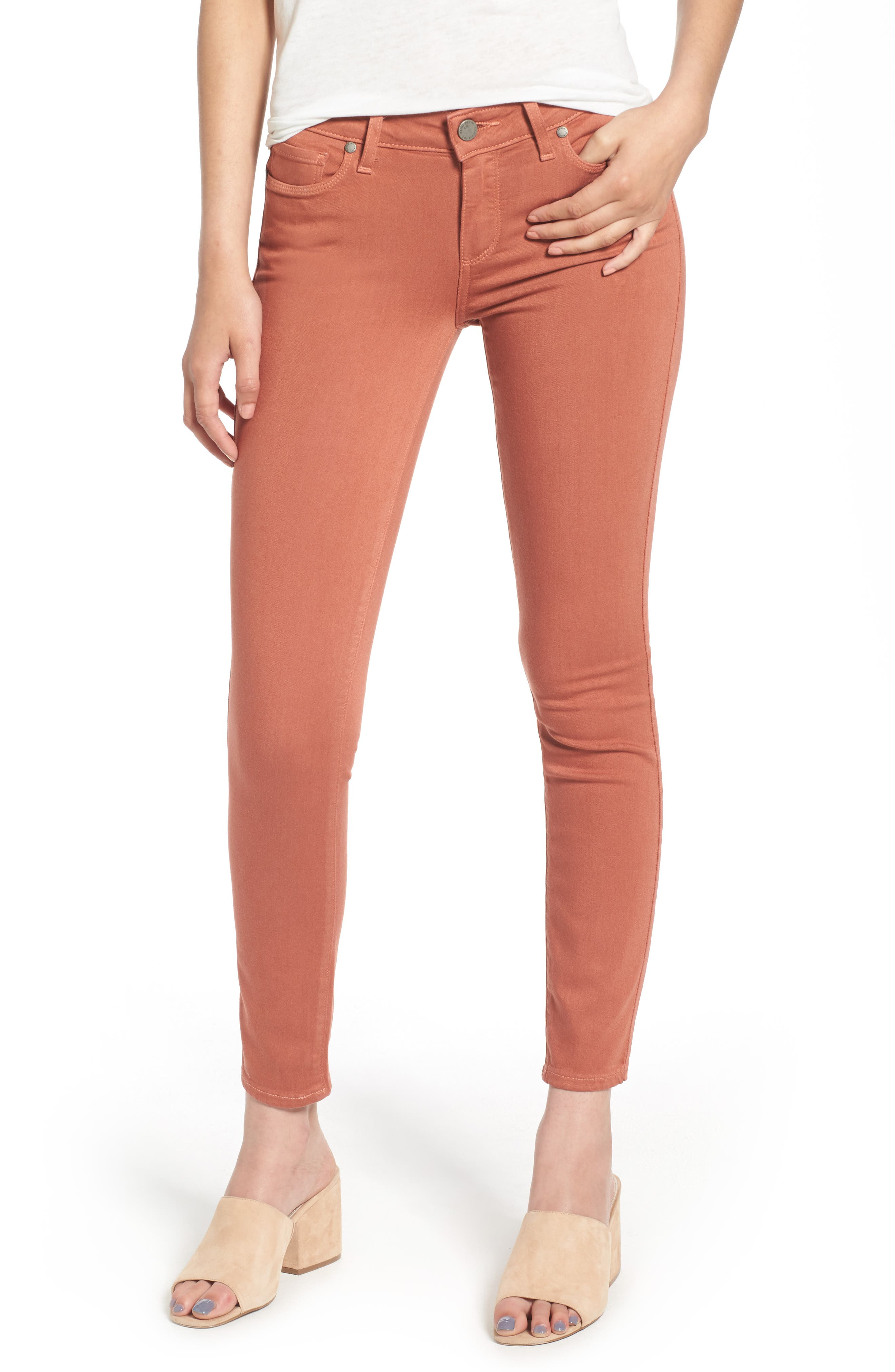 PAIGE Verdugo Ankle Skinny Jeans (Brick Red)