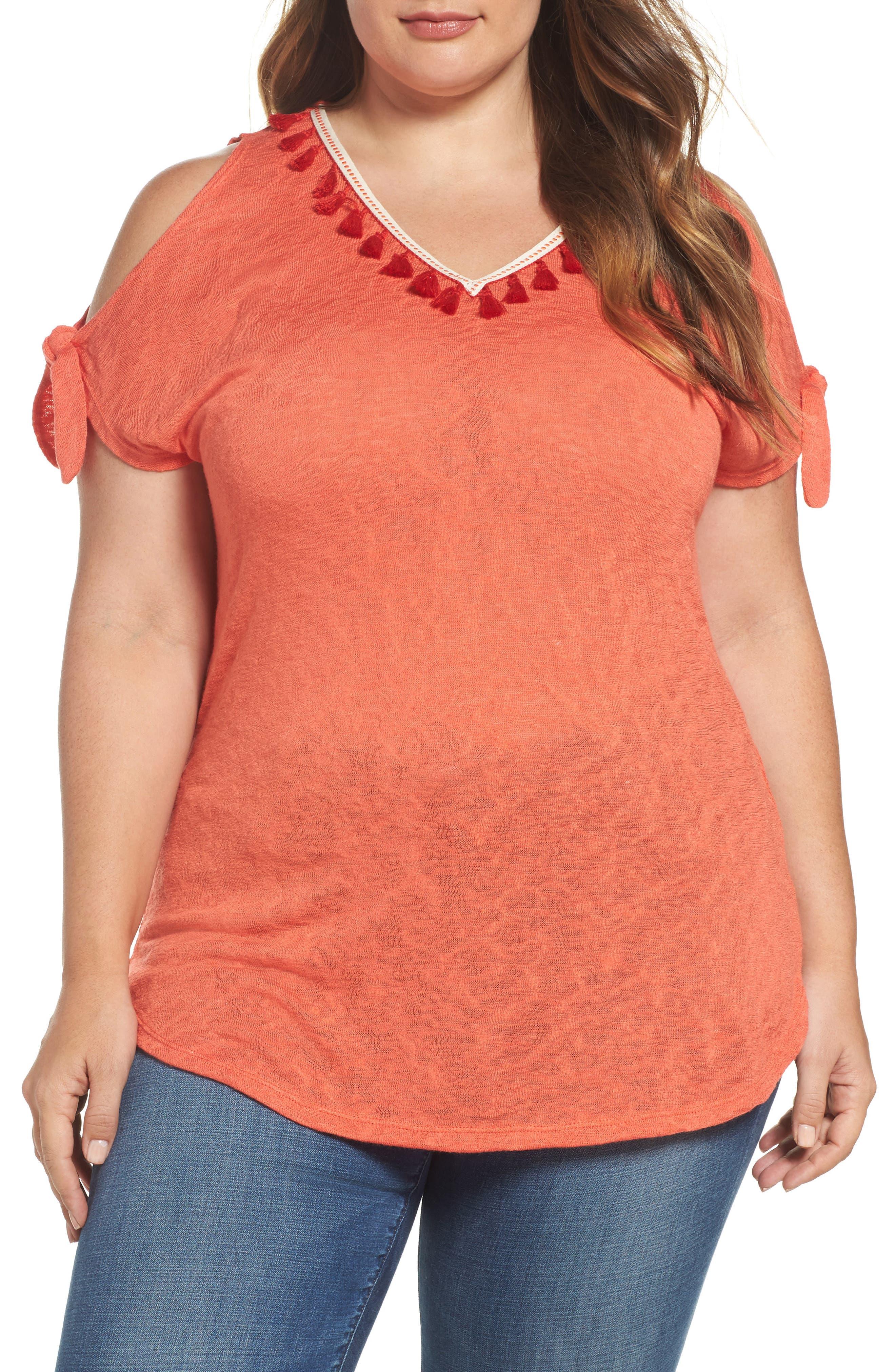 Tassel Trim Slub Knit Top,                         Main,                         color, Orange