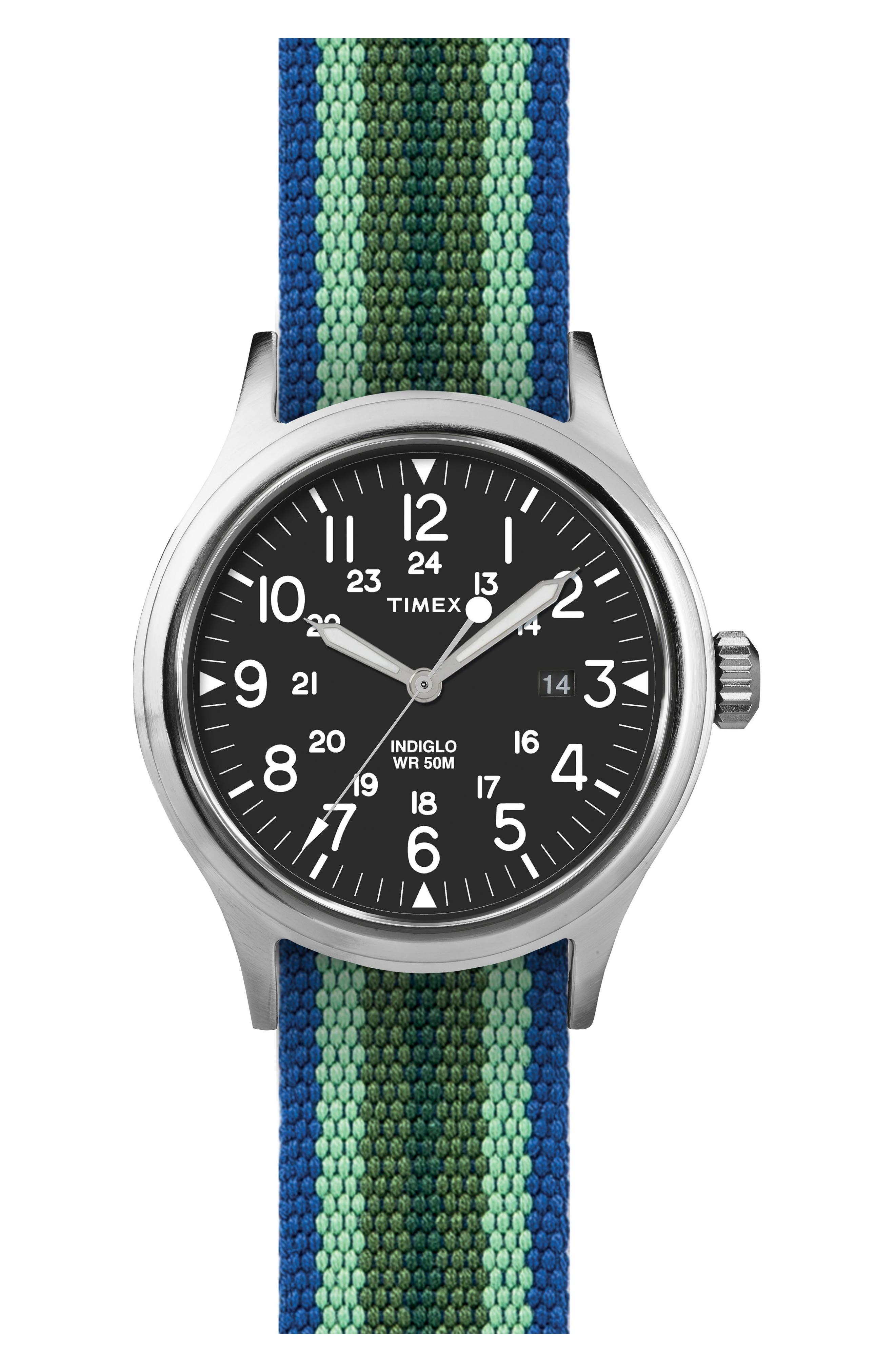 Scout Brook Stripe Strap Watch, 40mm,                             Main thumbnail 1, color,                             Black/ Green/ Blue Stripe