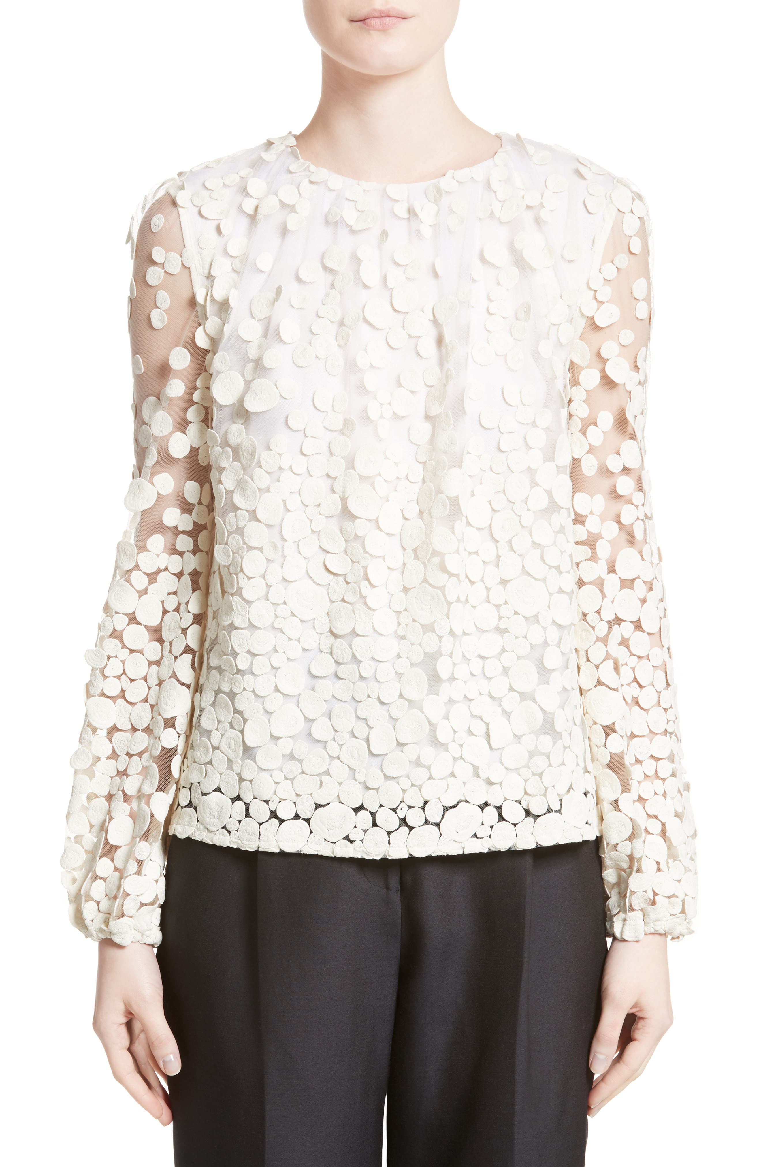 Pebbles Embroidered Mesh Peasant Top,                         Main,                         color, Ivory