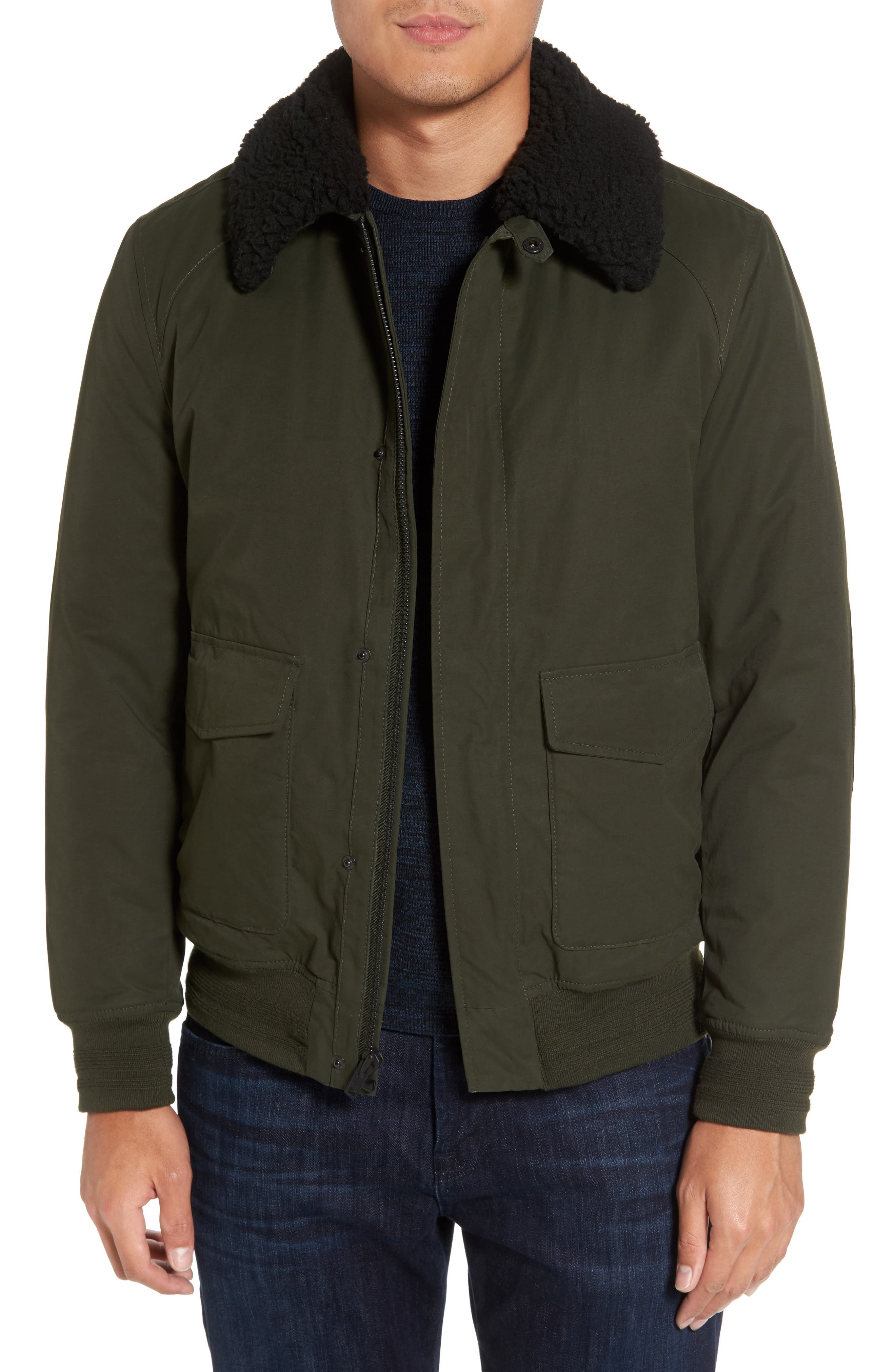 Flight Bomber Jacket with Faux Shearling Trim,                         Main,                         color, Green Forest