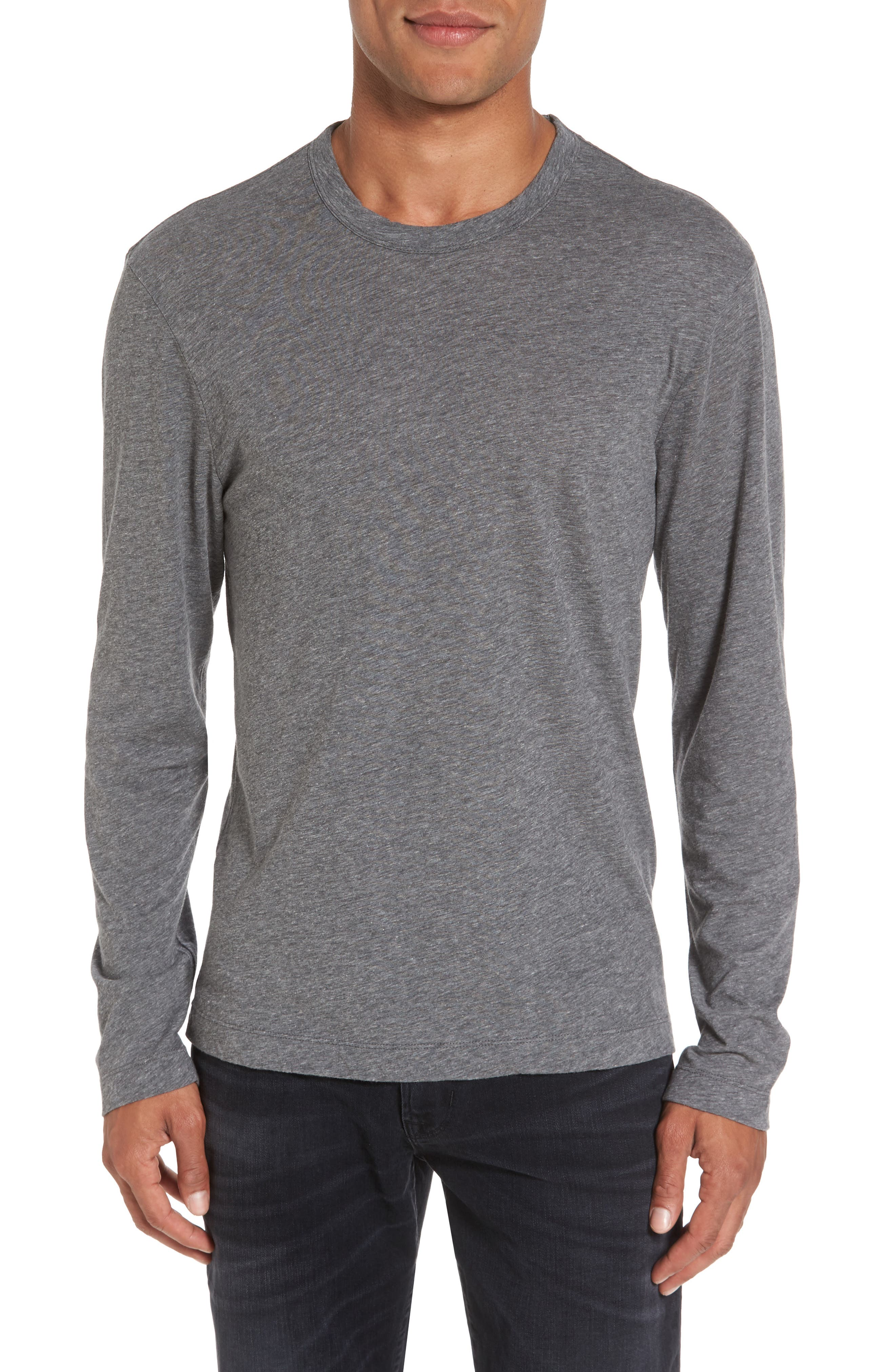 Mélange Knit Long Sleeve T-Shirt,                         Main,                         color, Coal Melange
