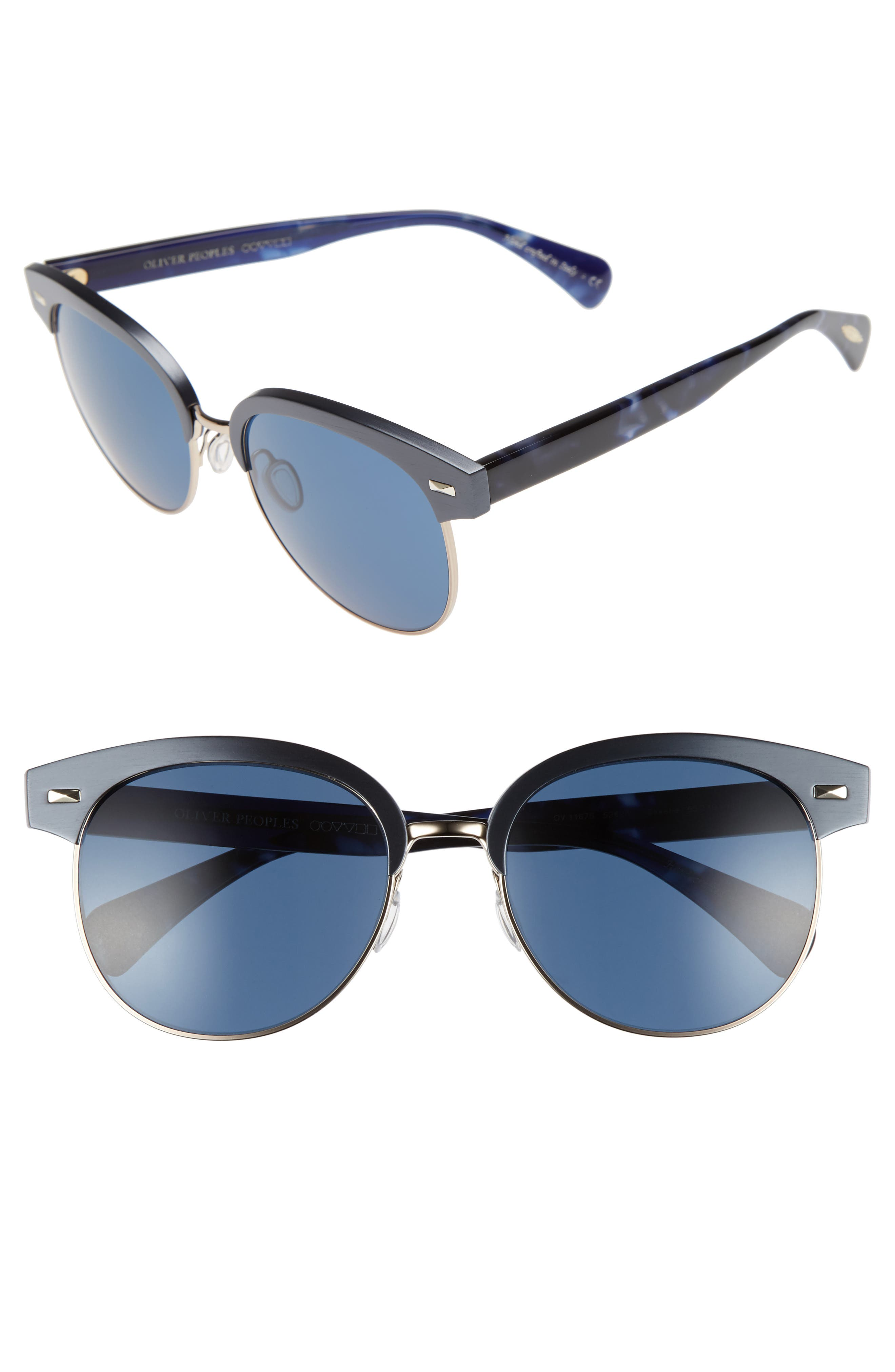 Shaelie 55mm Mirrored Semi-Rim Sunglasses,                         Main,                         color, Navy