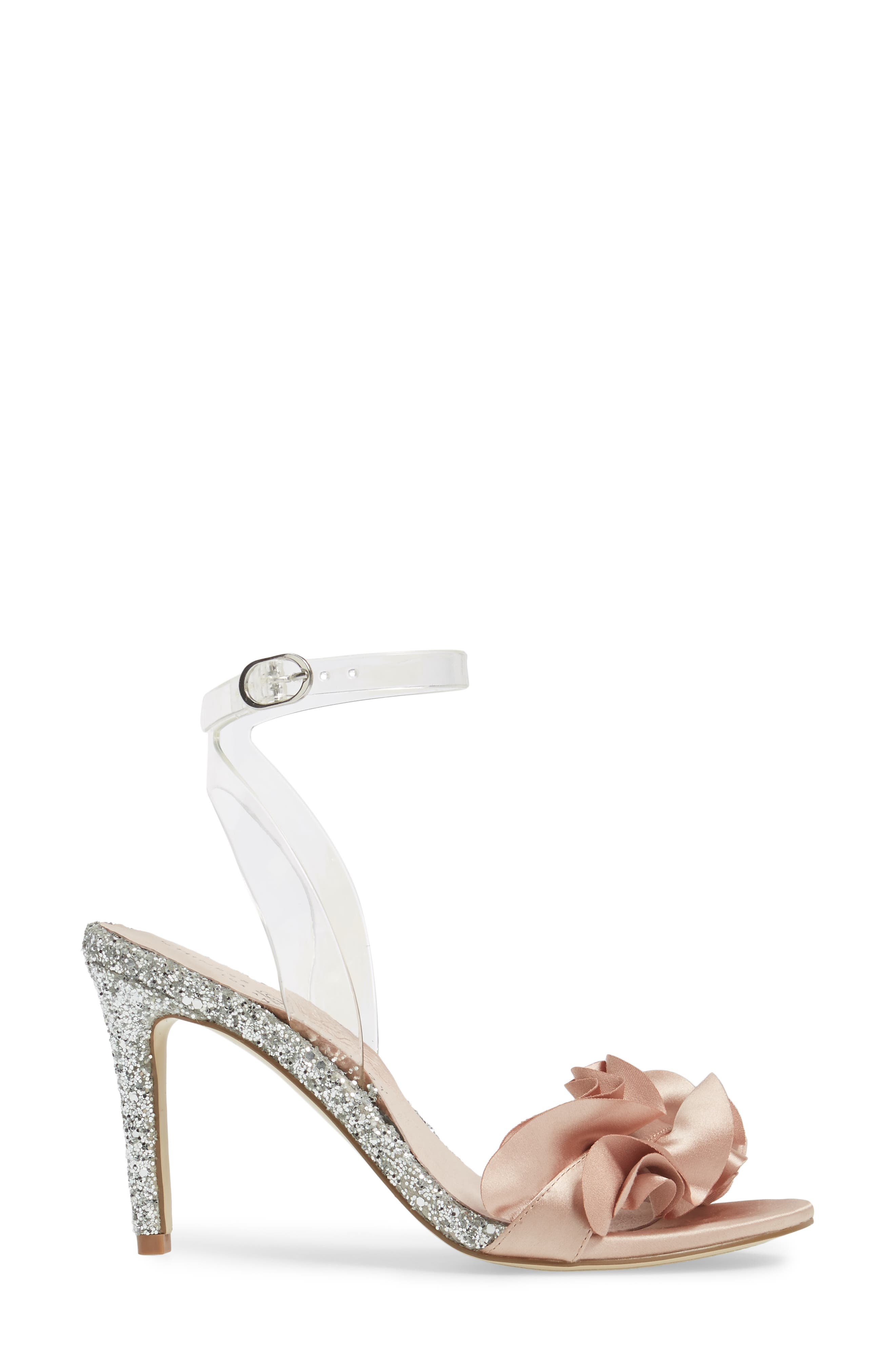 Janey Ruffled Sandal,                             Alternate thumbnail 3, color,                             Nude/ Clear