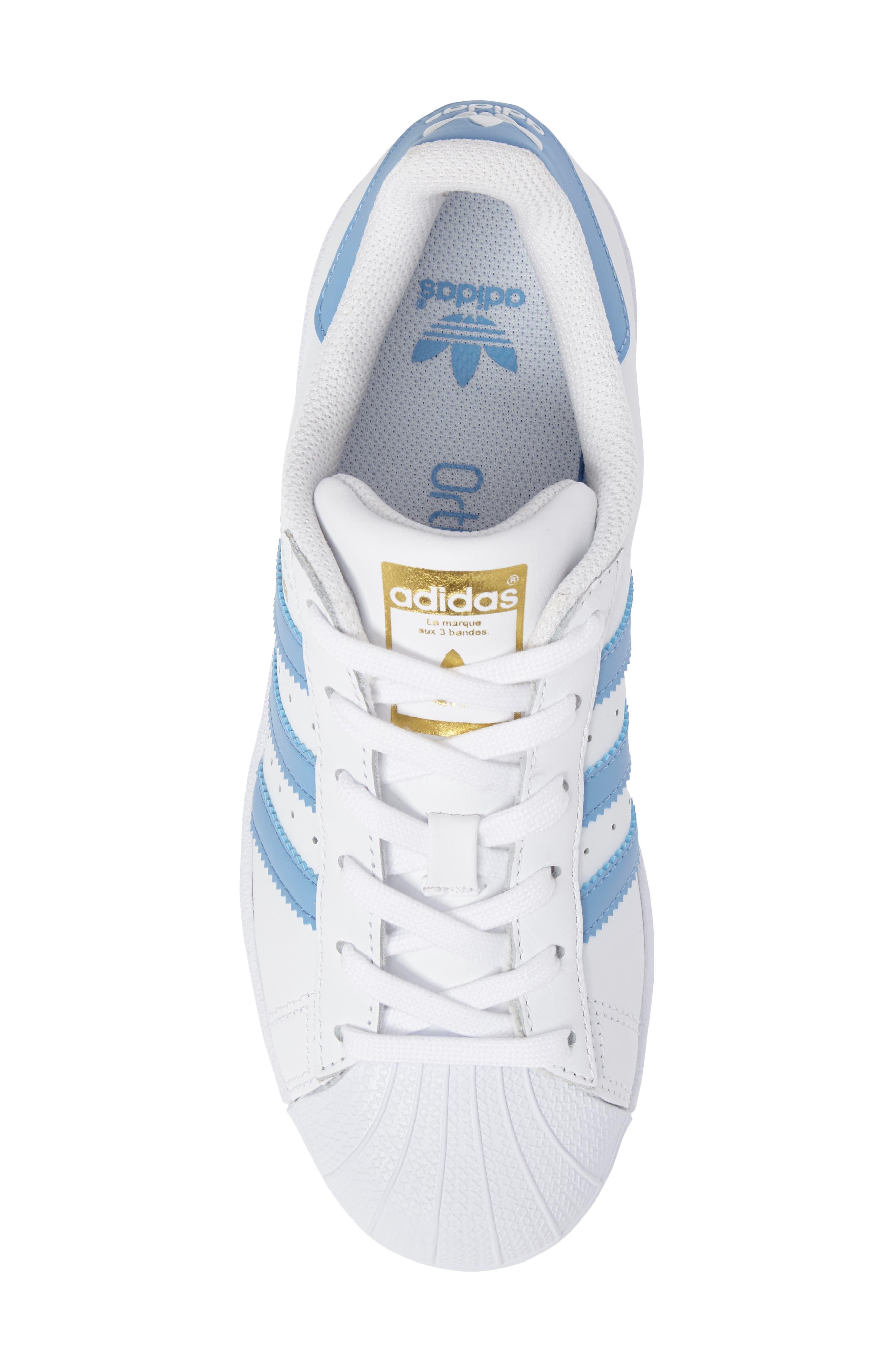 Superstar Foundation Sneaker,                             Alternate thumbnail 5, color,                             White/ Light Blue/ Gold