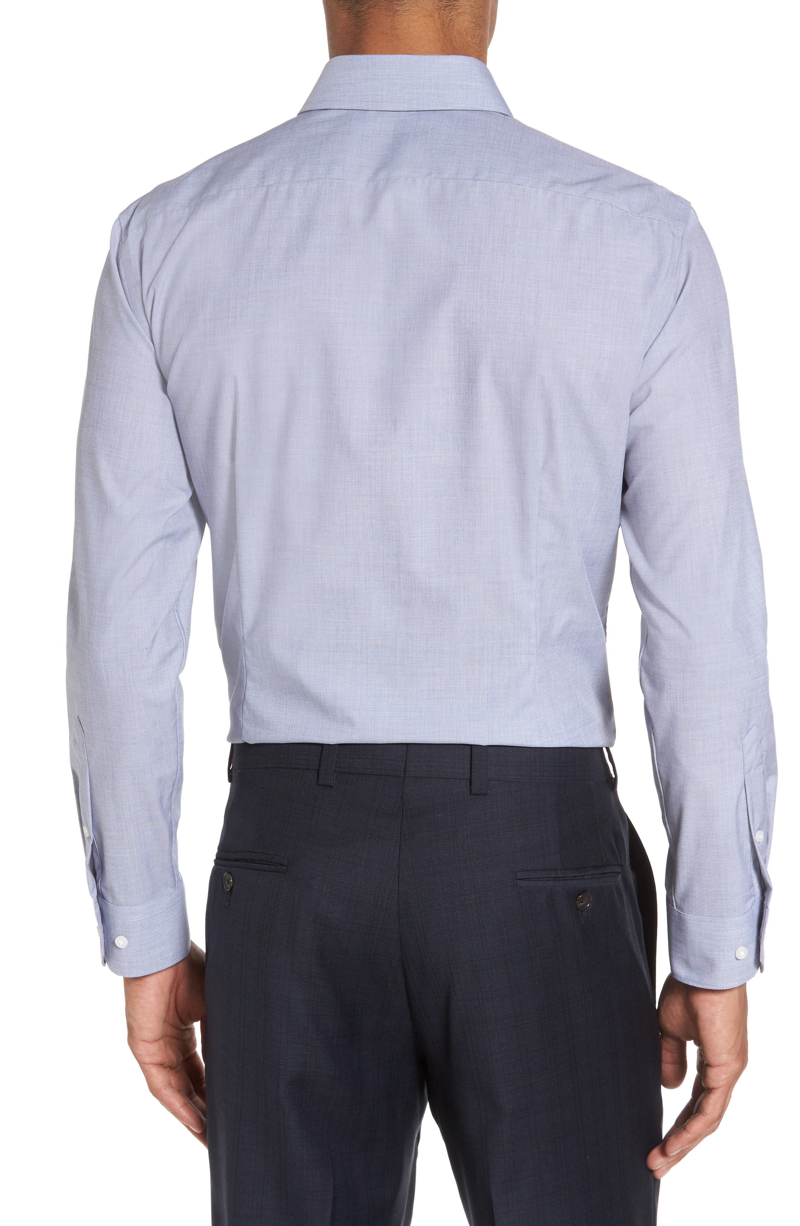Extra Trim Fit Stretch No-Iron Dress Shirt,                             Alternate thumbnail 3, color,                             Navy Patriot