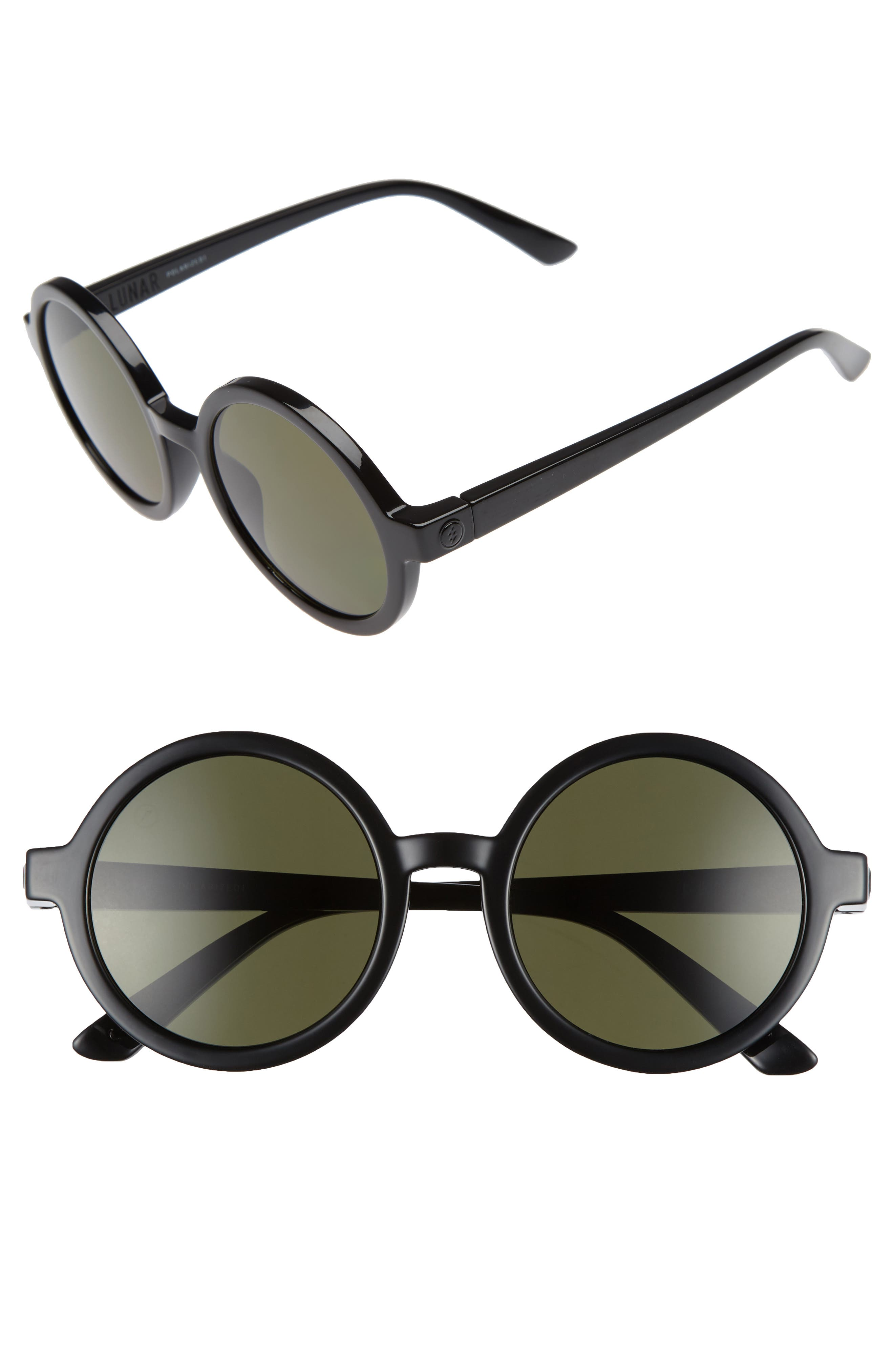 Lunar 51mm Round Polarized Sunglasses,                         Main,                         color, Gloss Black/ Grey Polar