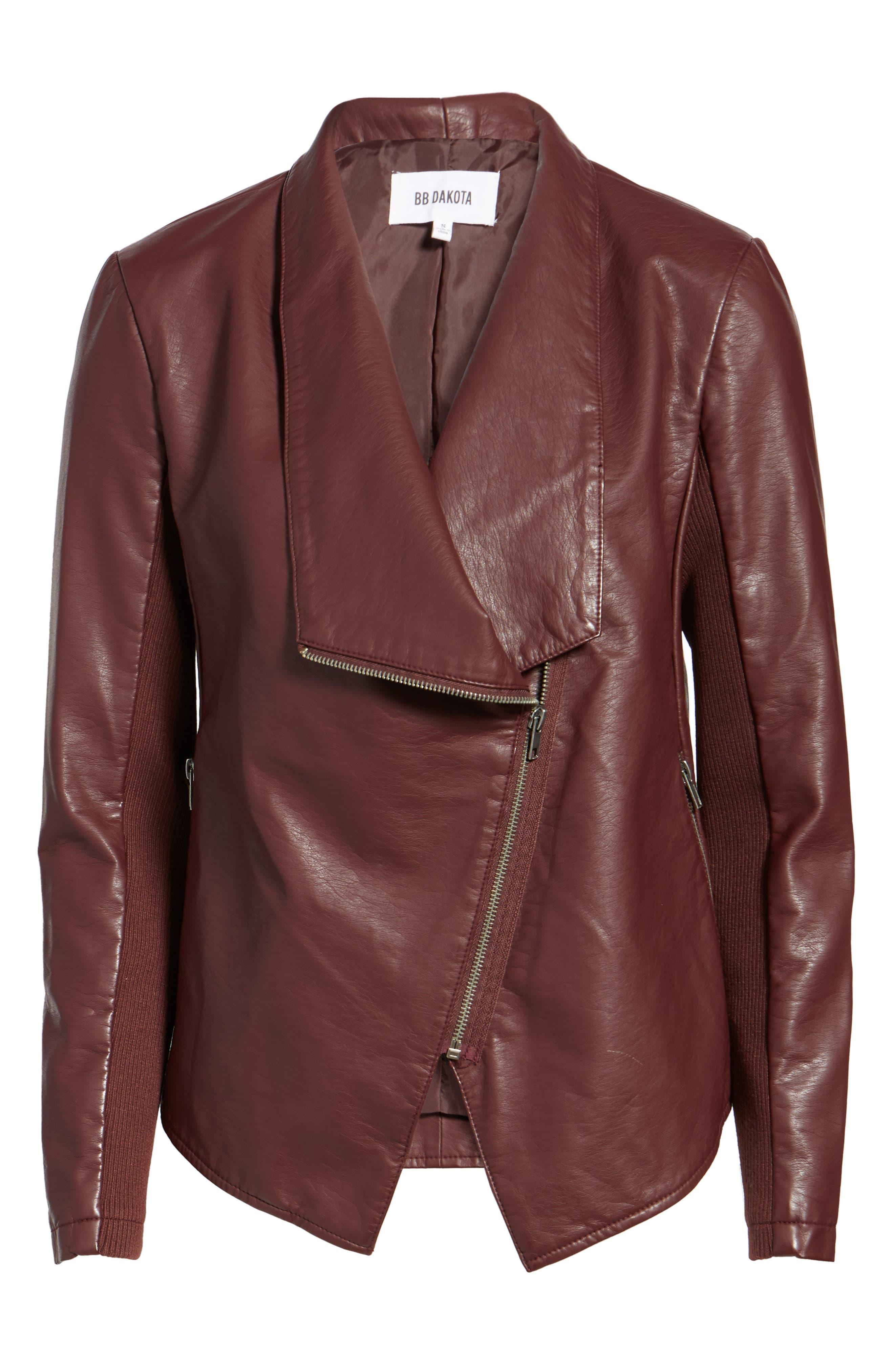 Alternate Image 6  - BB Dakota Gabrielle Faux Leather Asymmetrical Jacket
