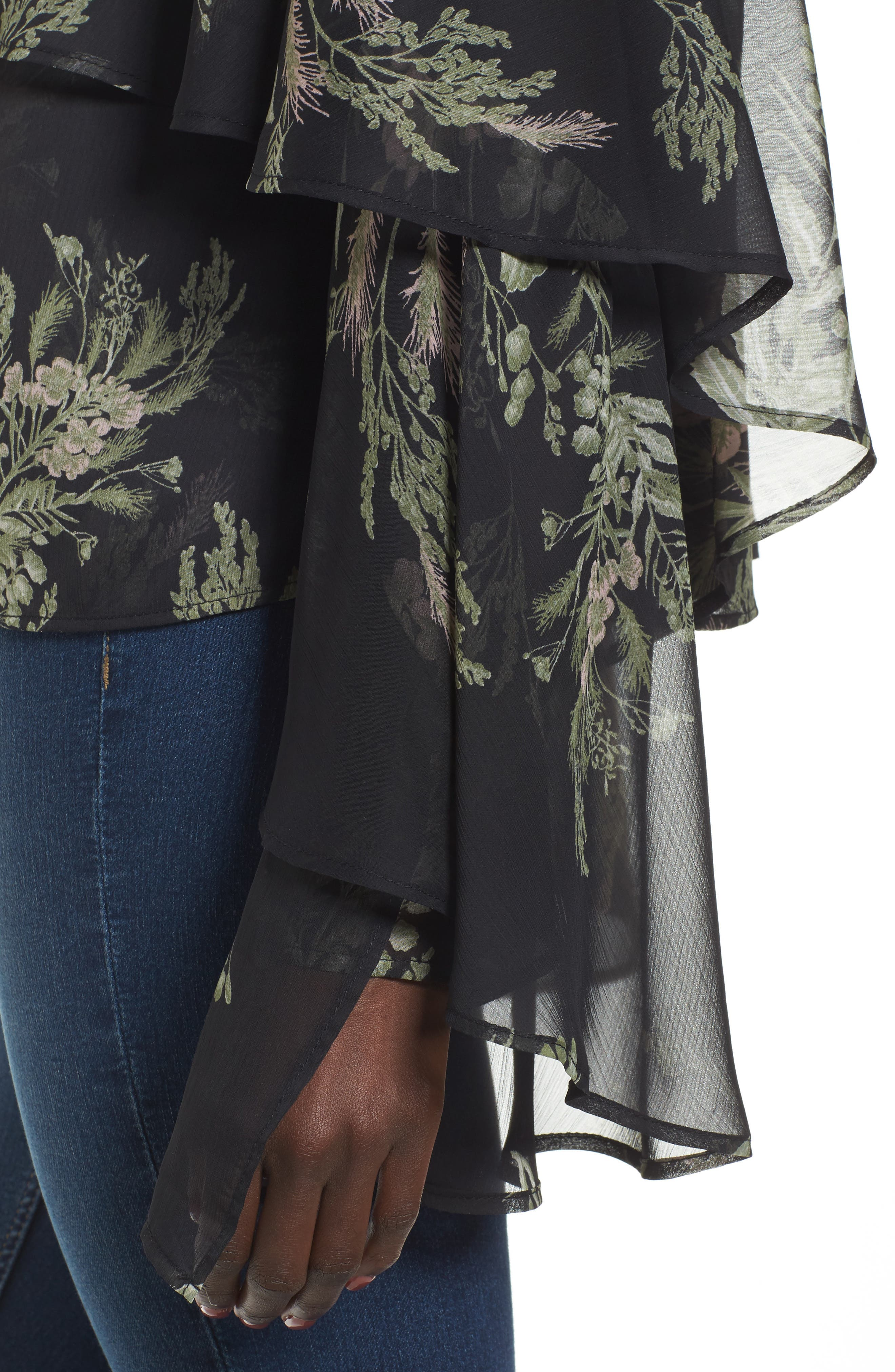 Tiered Flounce Top,                             Alternate thumbnail 4, color,                             Black Whispy Floral