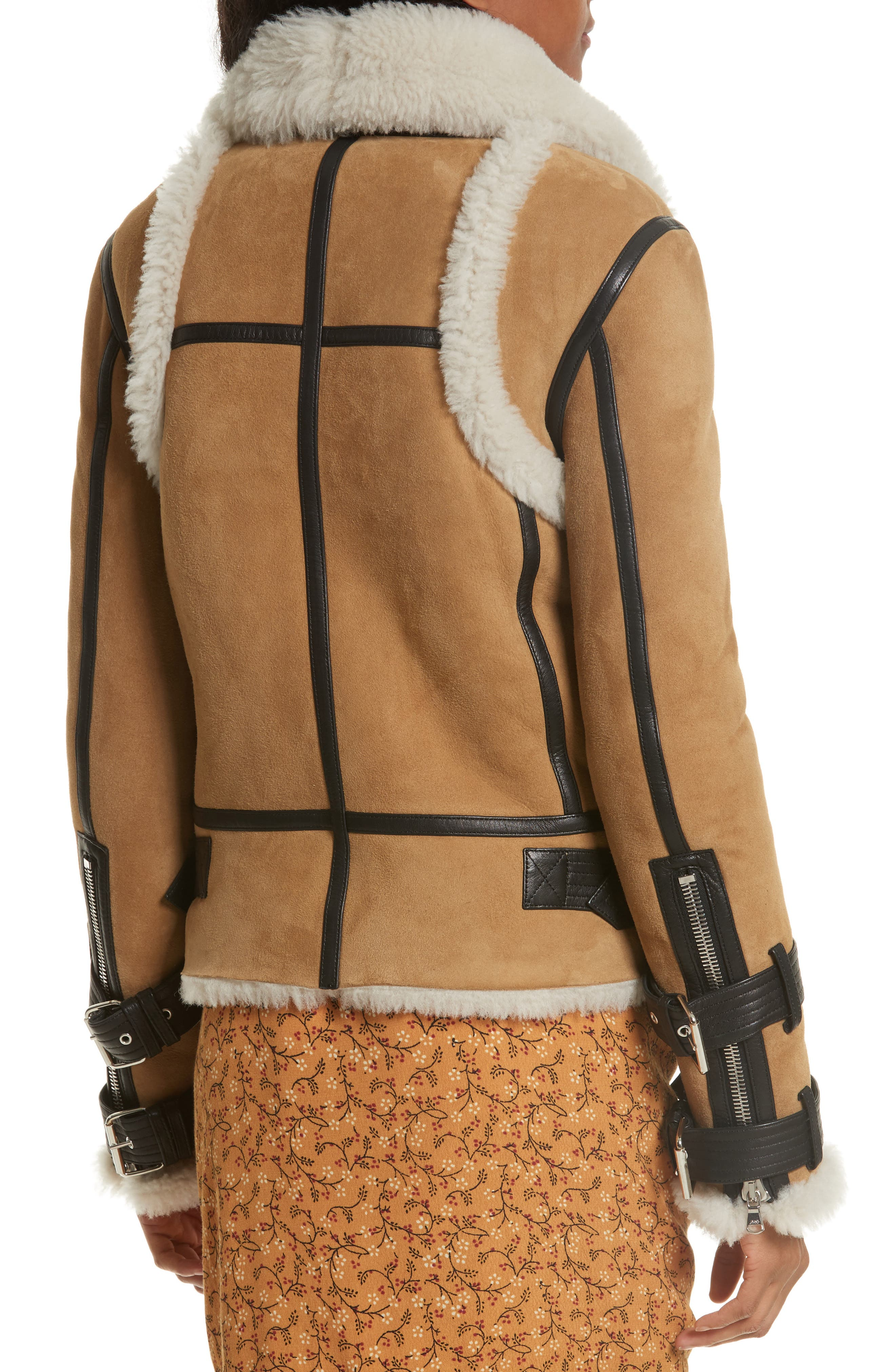 Windsor Genuine Shearling Pilot Jacket,                             Alternate thumbnail 3, color,                             Beige