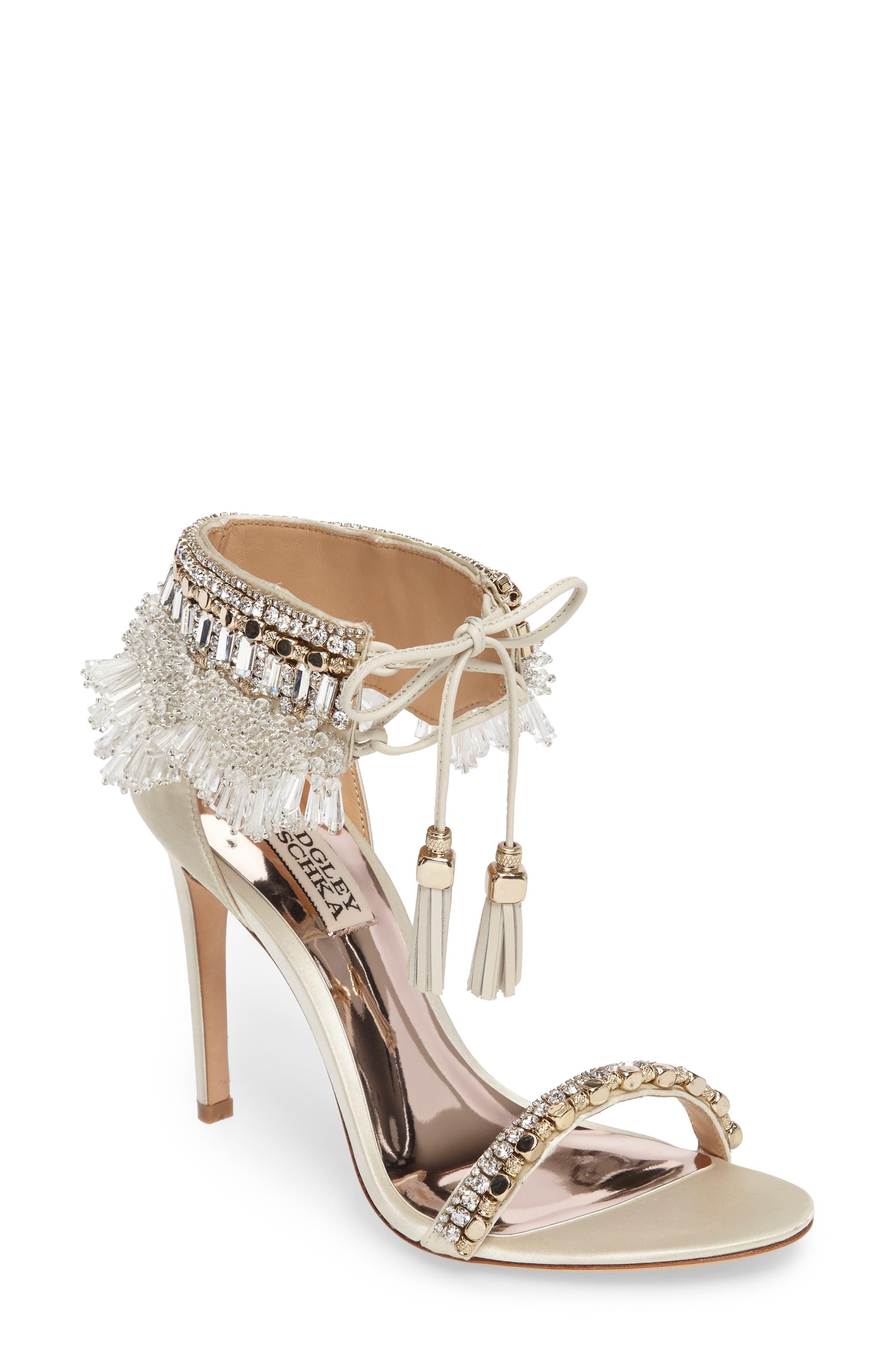 Main Image - Badgley Mischka Katrina Embellished Tie Sandal (Women)