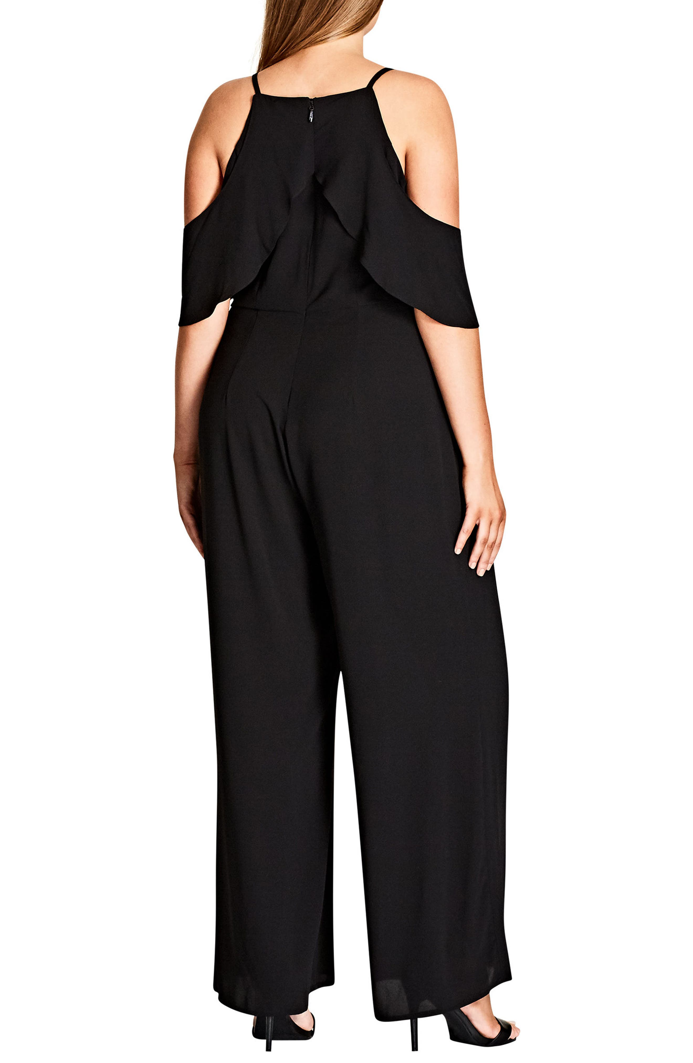 Serenity Cold Shoulder Jumpsuit,                             Alternate thumbnail 2, color,                             Black