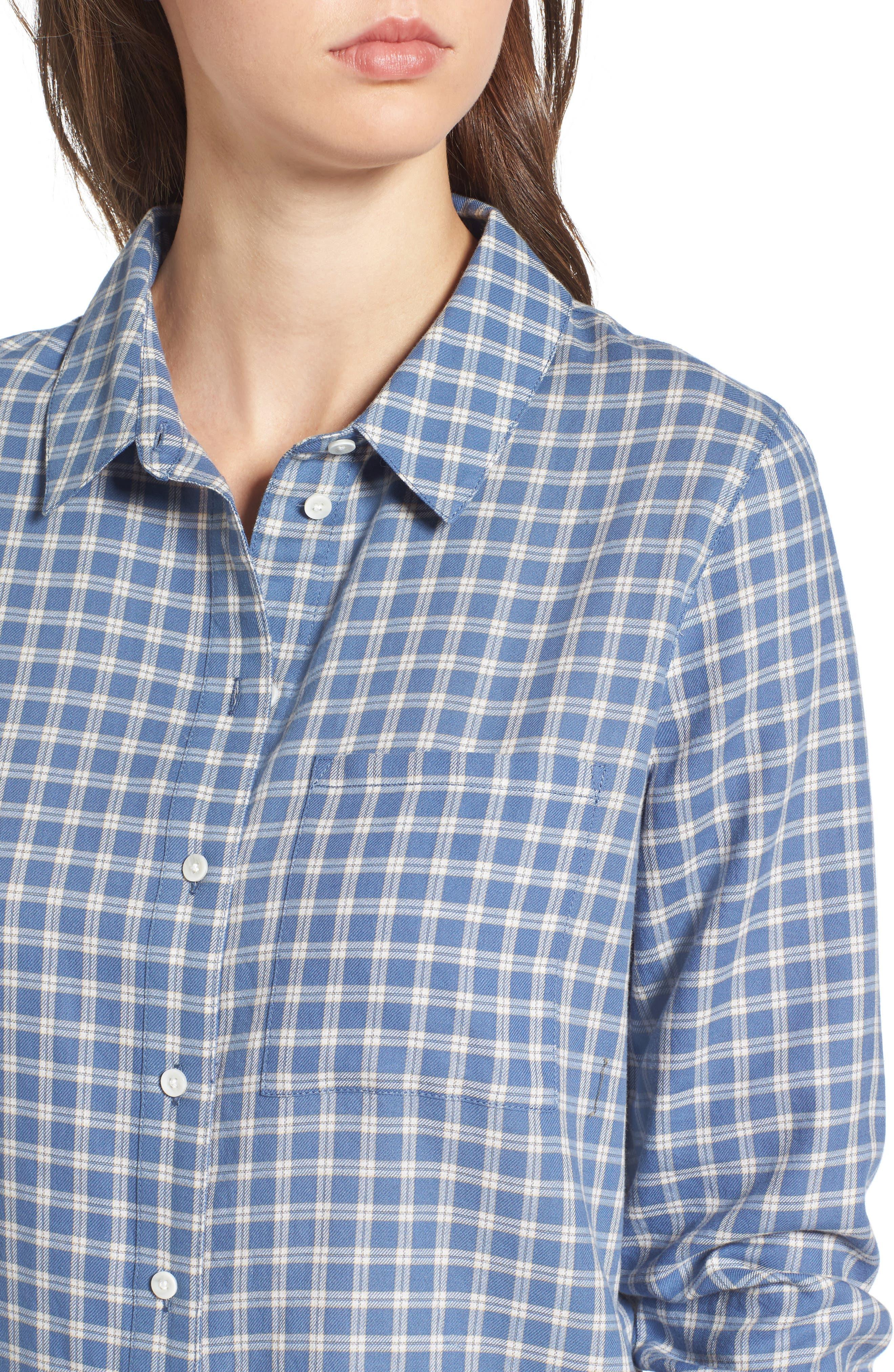 Classic Plaid Shirt,                             Alternate thumbnail 4, color,                             Blue Moonlight Grid Check
