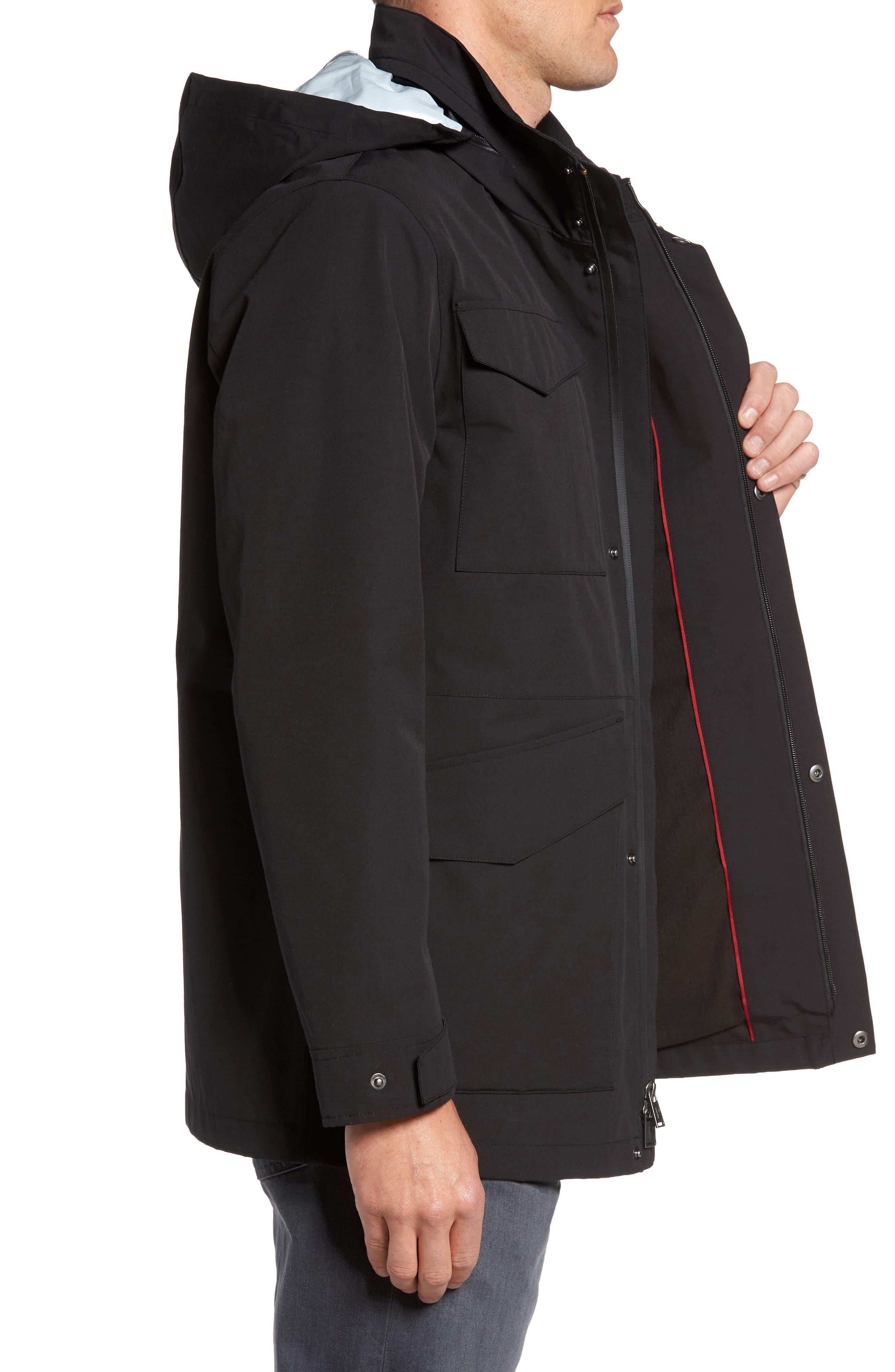 Clyde Hill Waterproof Field Jacket,                             Alternate thumbnail 3, color,                             Black