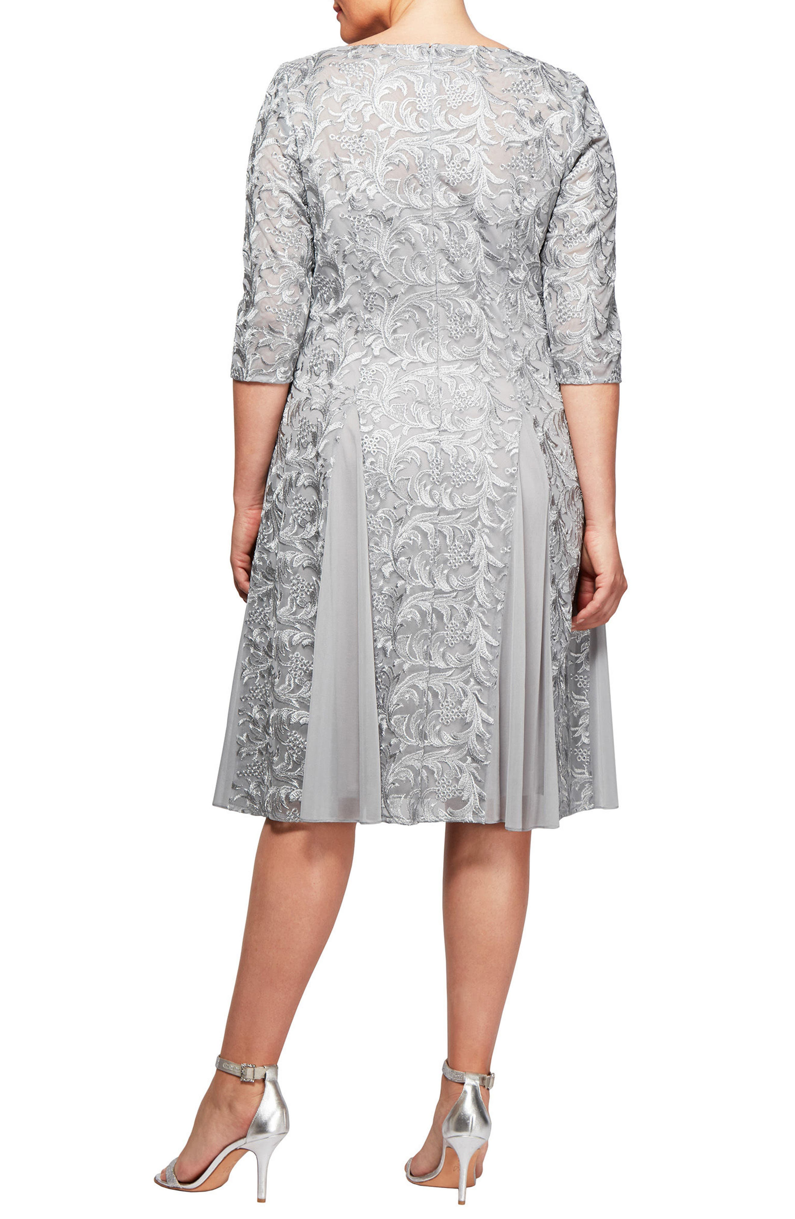 Alternate Image 2  - Alex Evenings Embroidered A-Line Midi Dress (Plus Size)