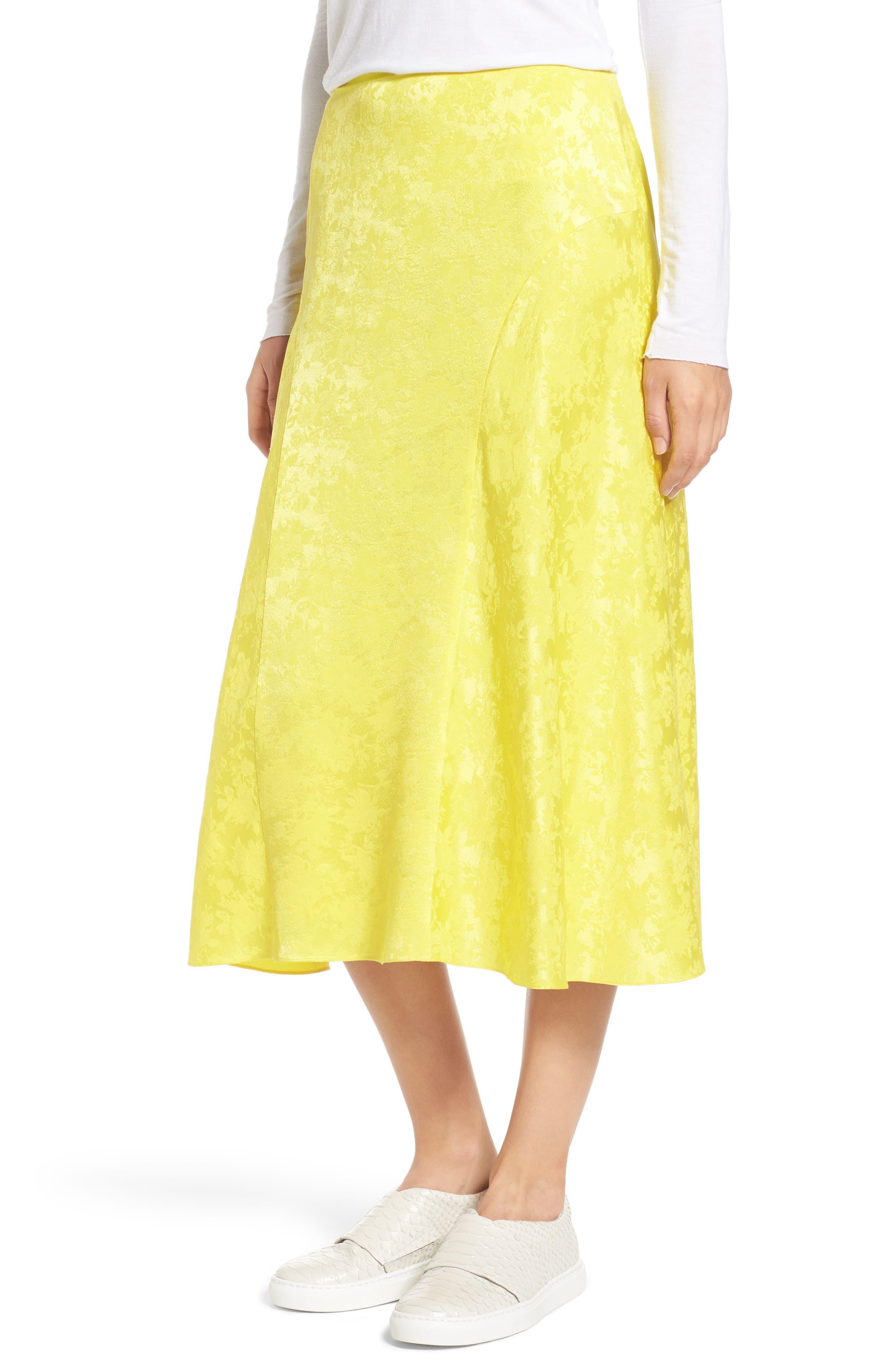 Jacquard Silk Midi Skirt,                         Main,                         color, Yellow Blaze