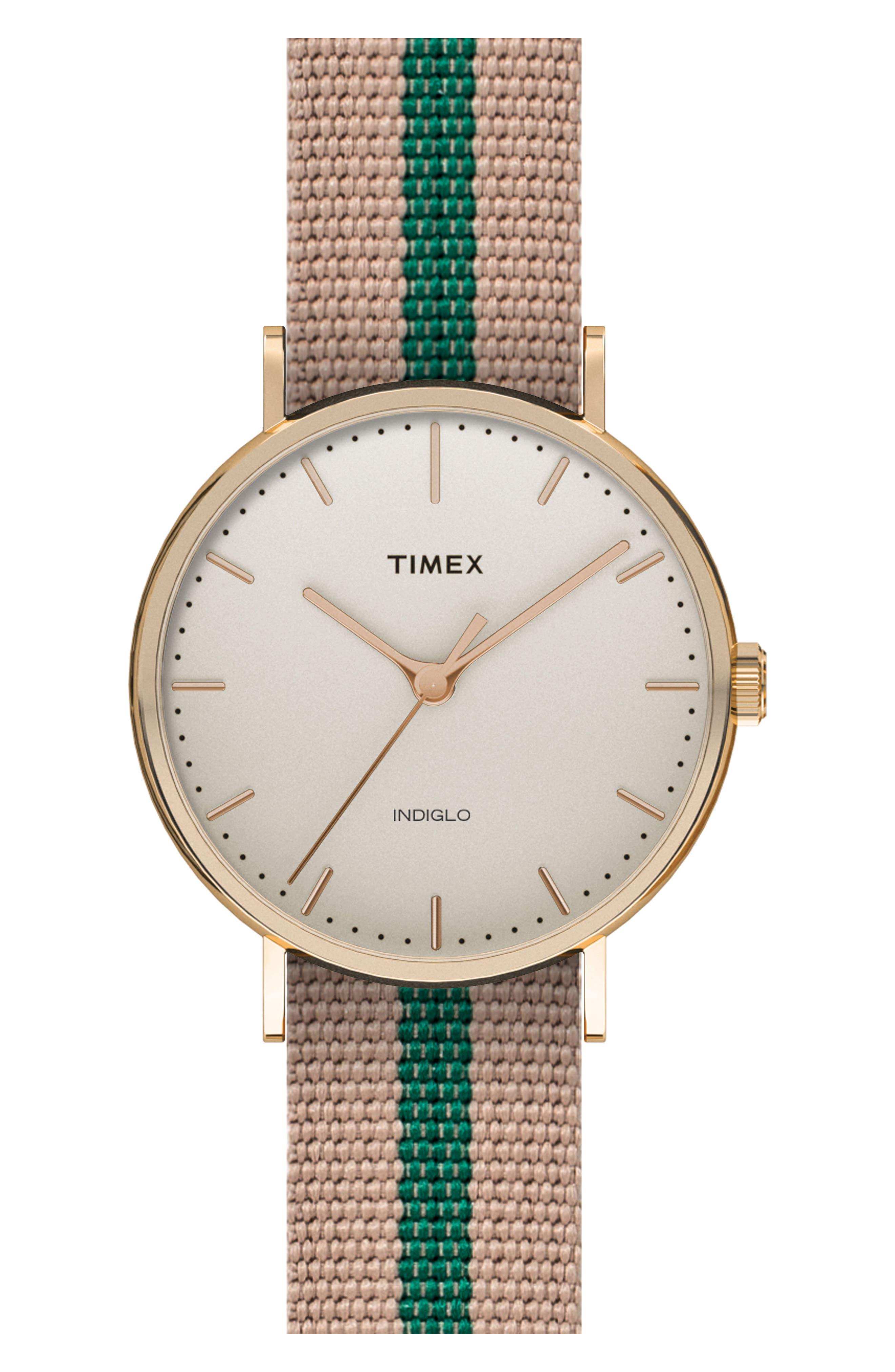 Timex® ARCHIVE Fairfield Pavilion Round Nylon Strap Watch, 41mm