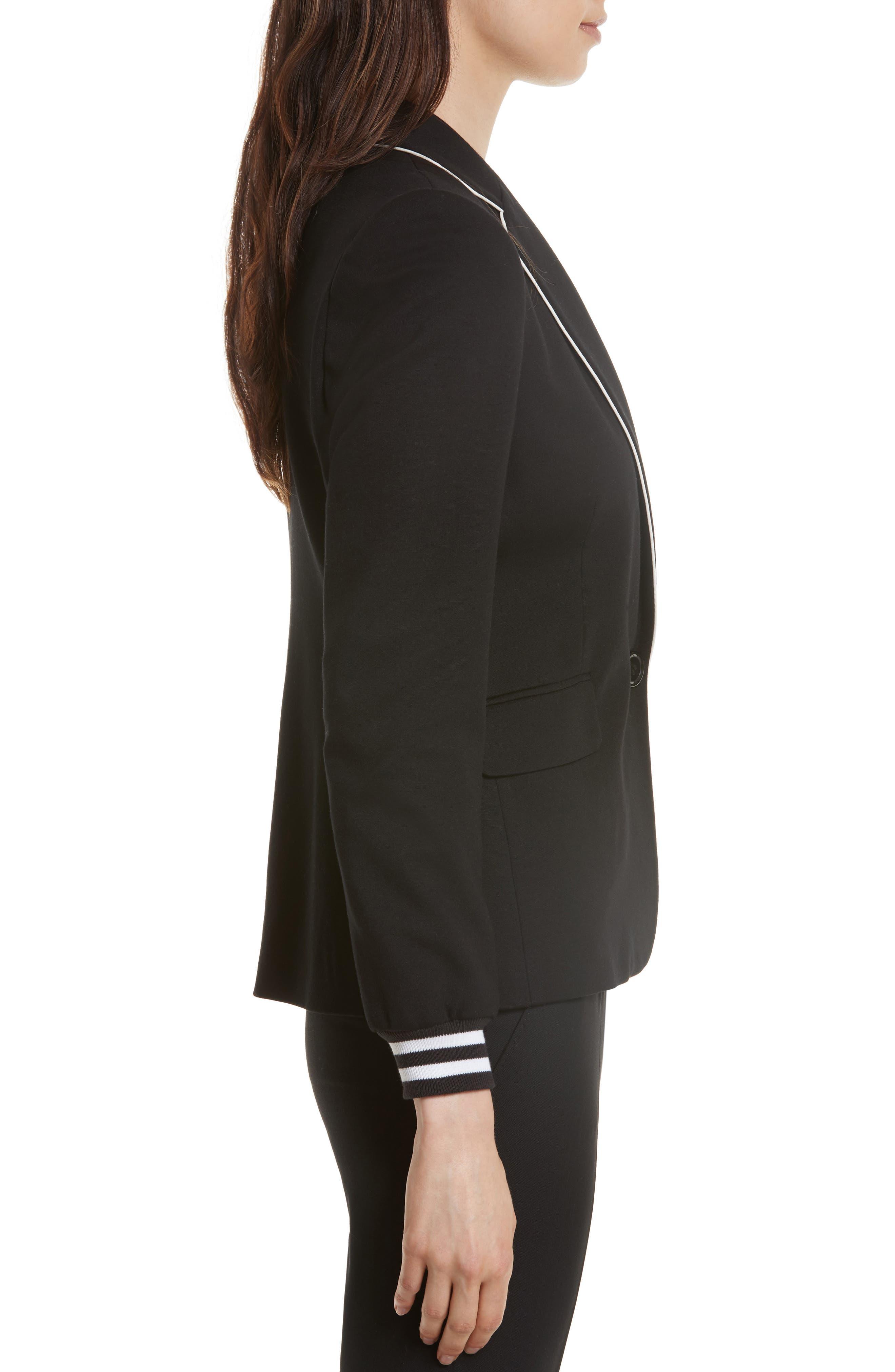 Piped Jersey Blazer,                             Alternate thumbnail 3, color,                             Black/ White