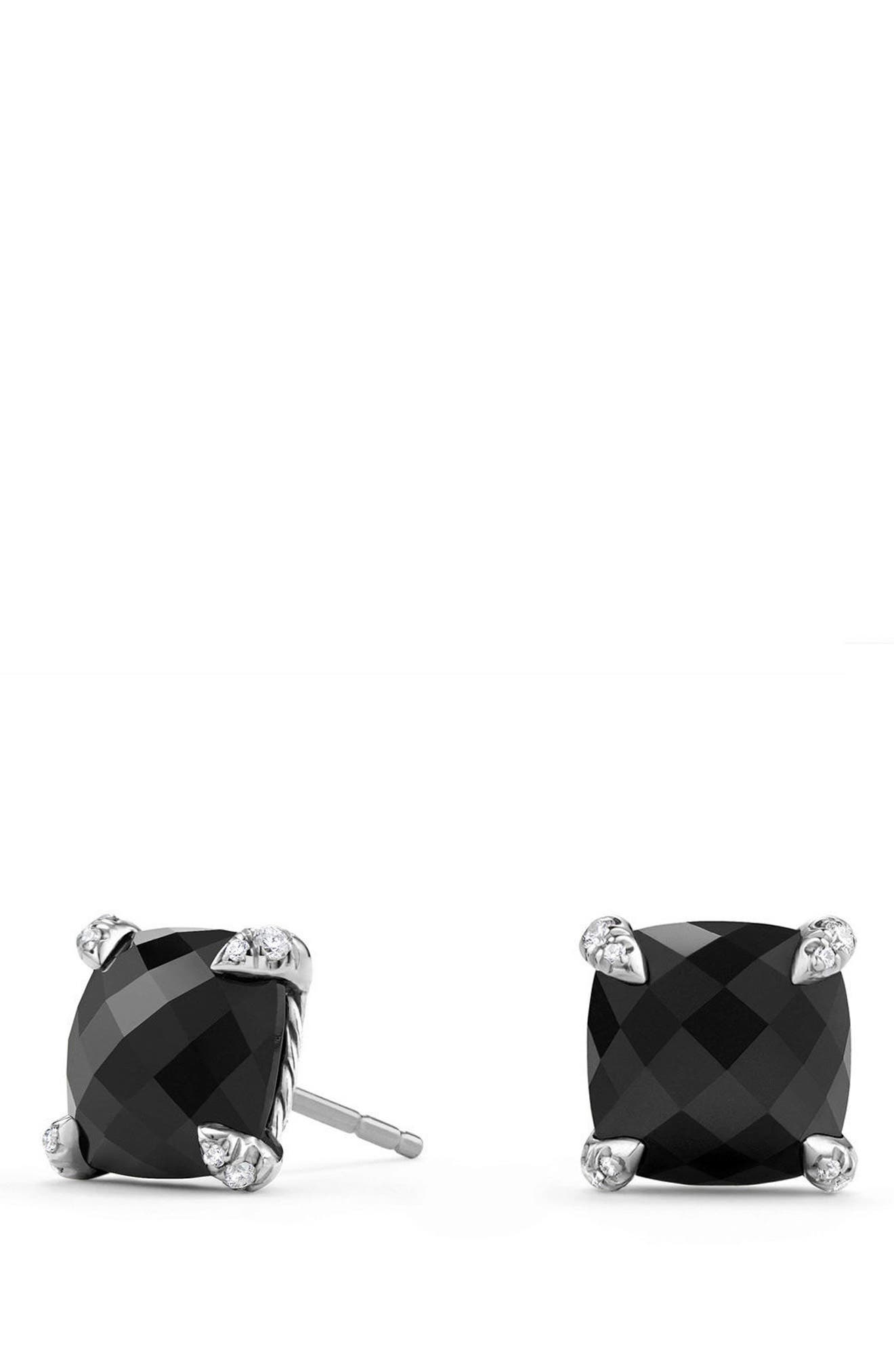 Châtelaine Earrings with Diamonds,                         Main,                         color, Black Onyx