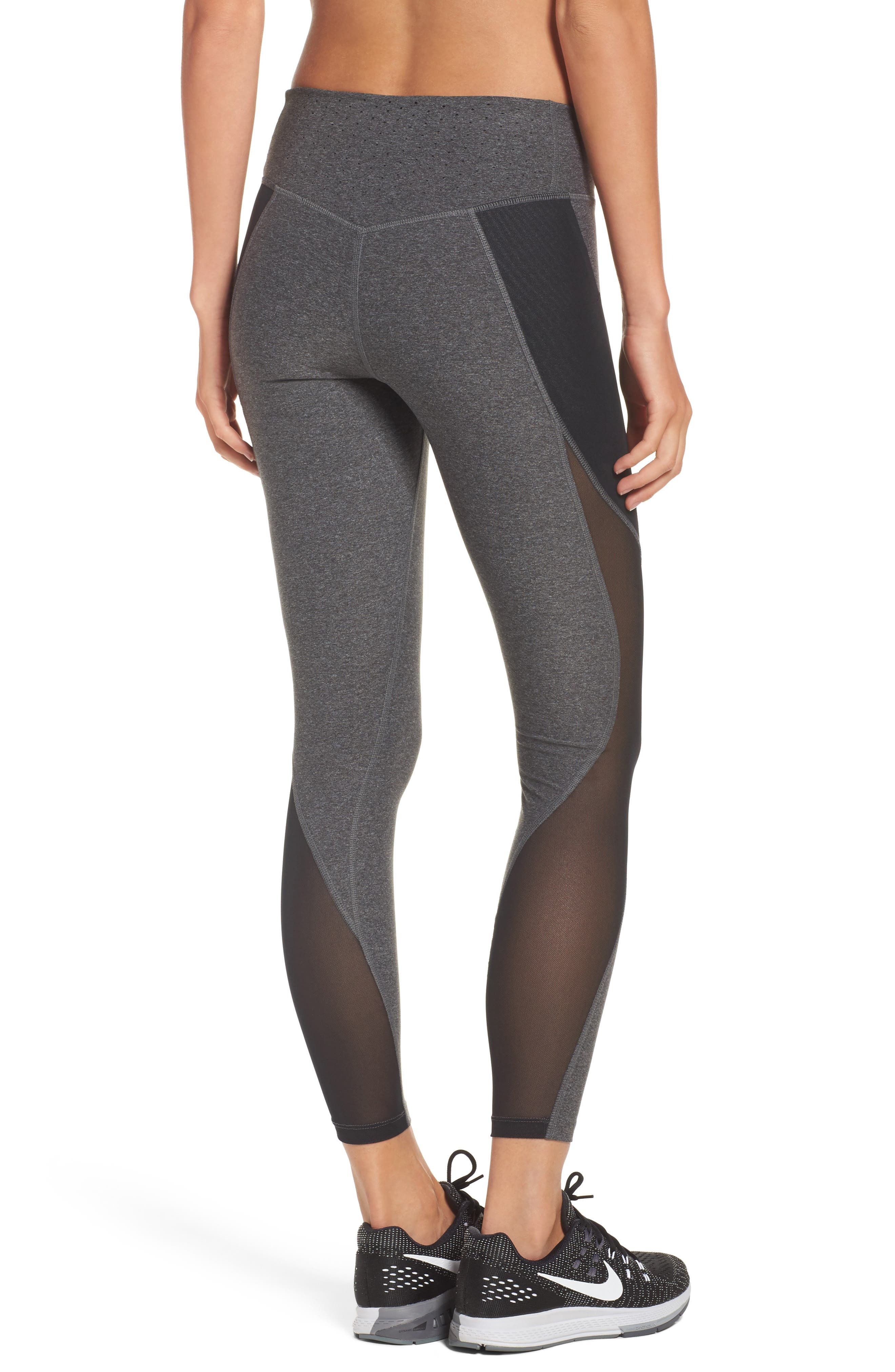 Power Legend Training Tights,                             Alternate thumbnail 2, color,                             Charcoal Heather/ Black/ White