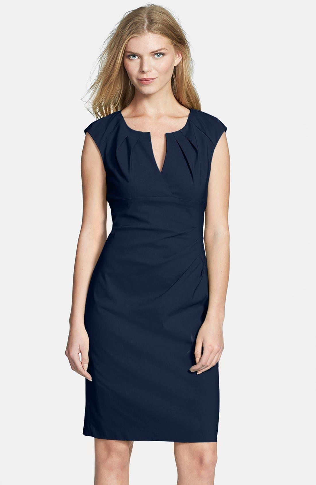 Alternate Image 1 Selected - Adrianna Papell Side Pleat Sheath Dress (Regular & Petite)