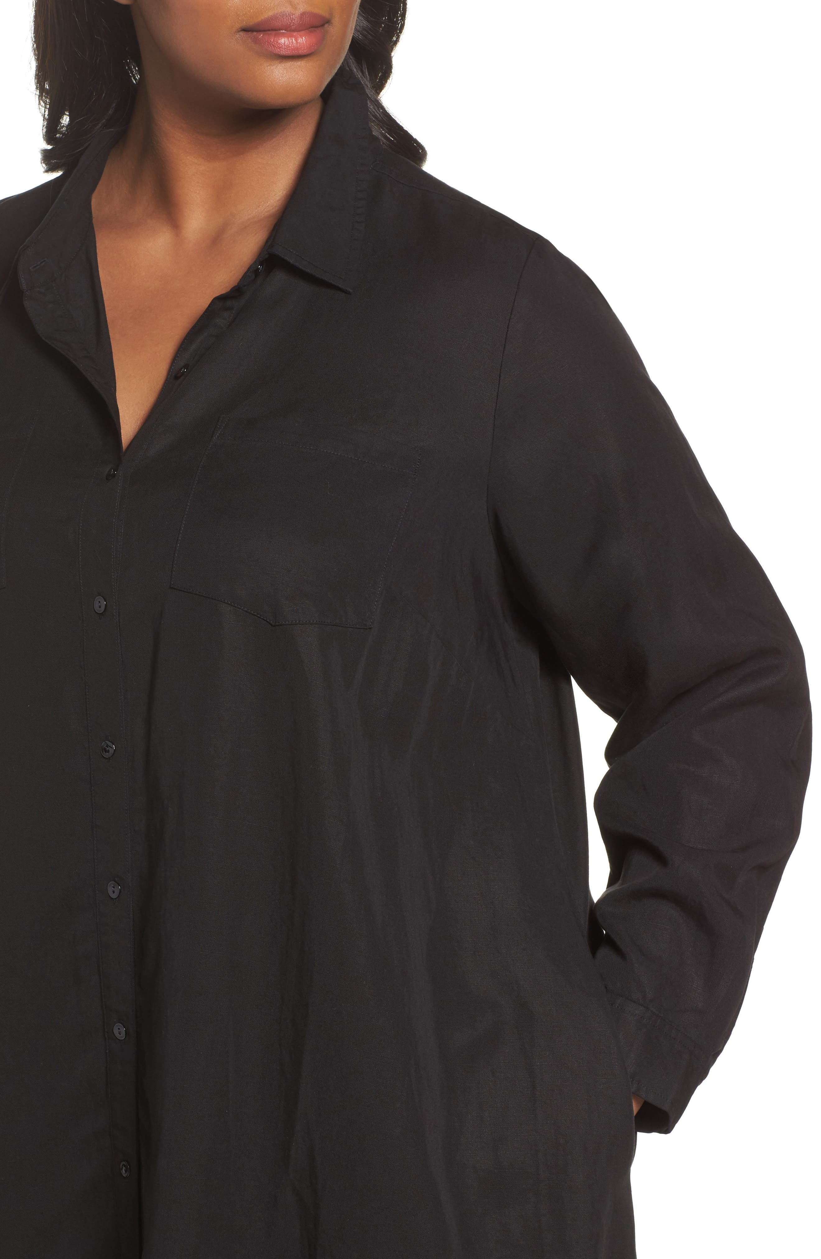 Alternate Image 4  - Eileen Fisher Classic Collar A-Line Shirtdress (Plus Size)