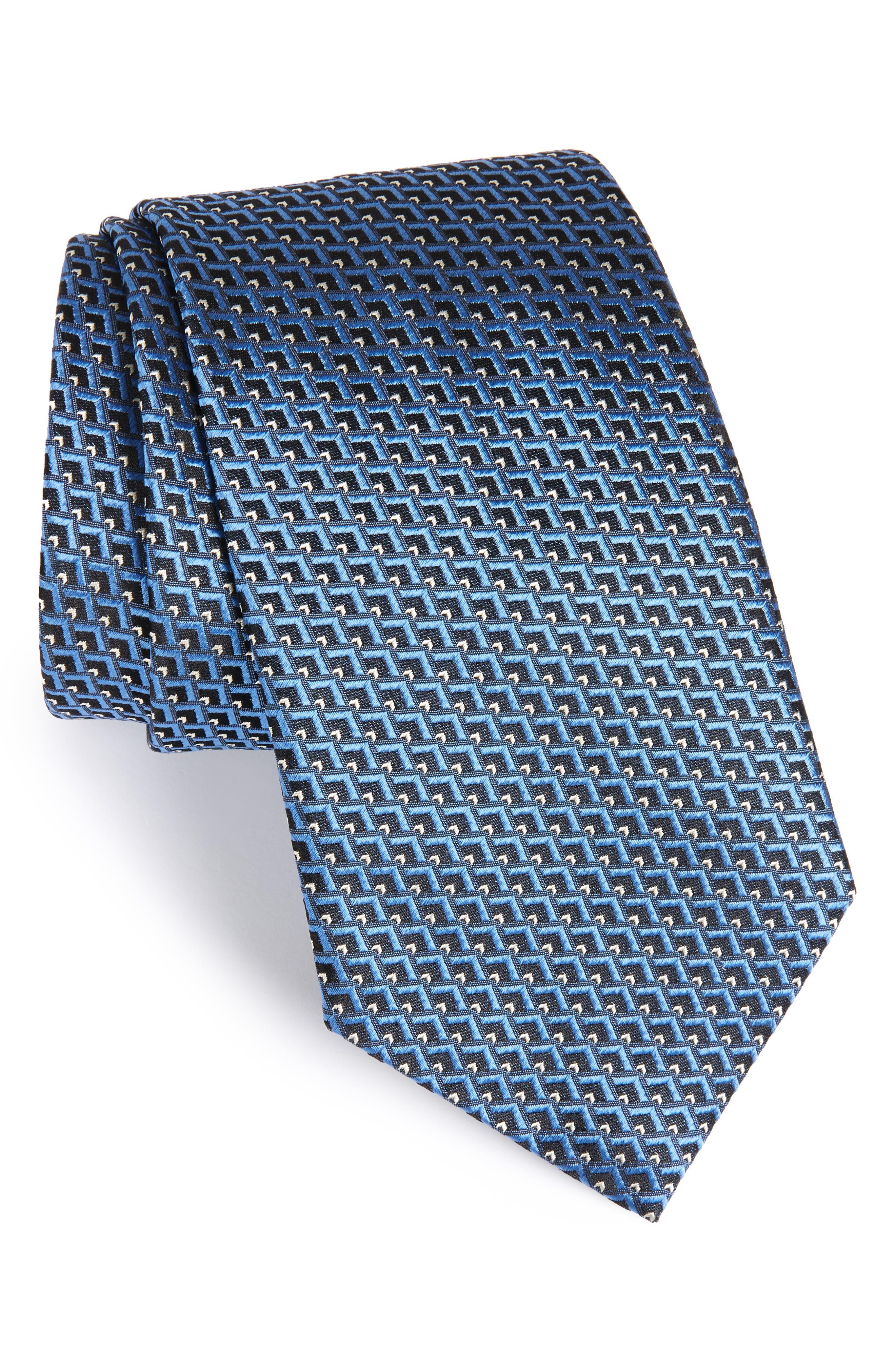 Geomeric Silk Tie,                             Main thumbnail 1, color,                             Navy