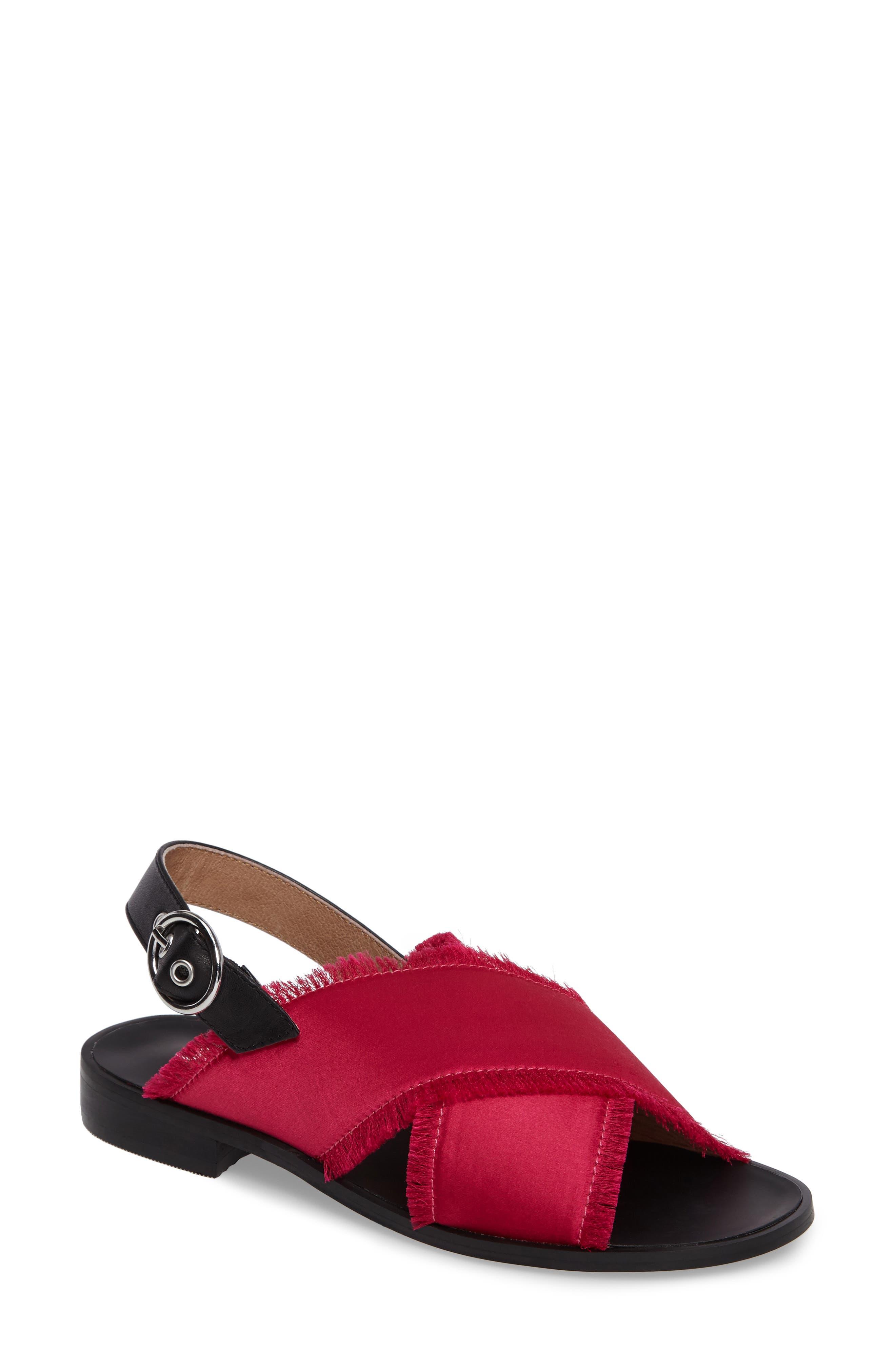Endy Fringed Cross Strap Sandal,                         Main,                         color, Fuchsia