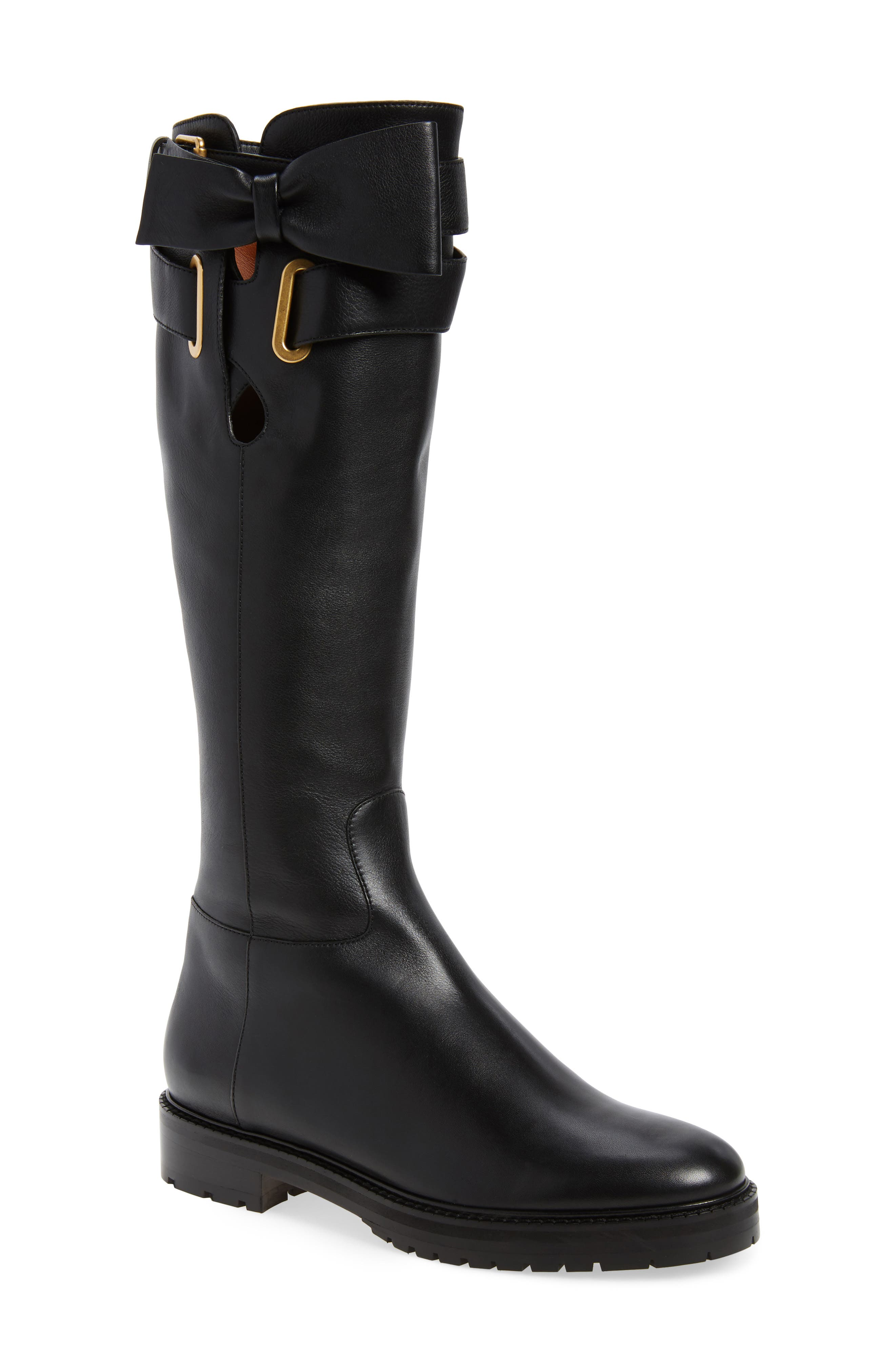 Bowrap Knee-High Boot,                             Main thumbnail 1, color,                             Black