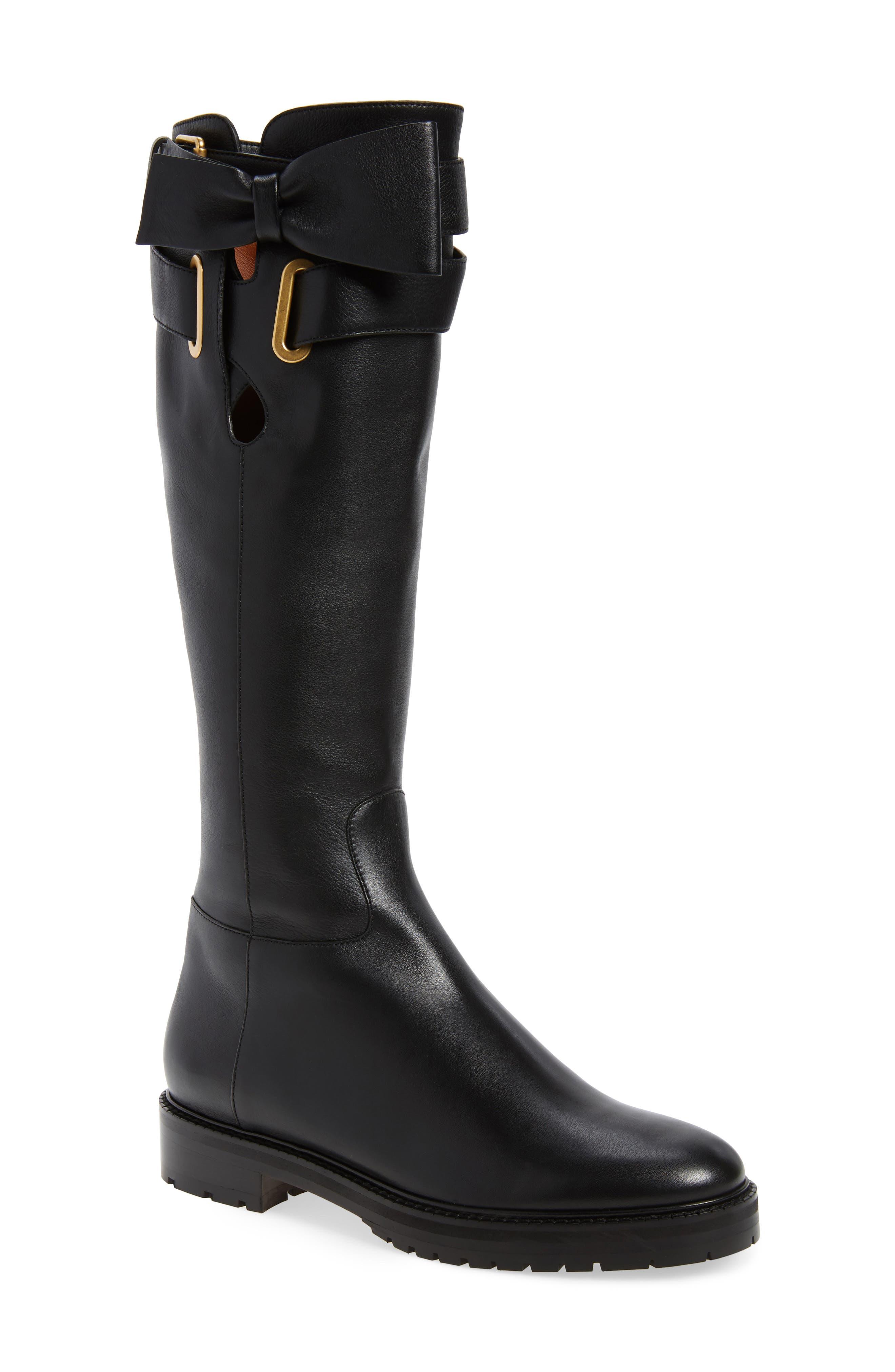 Bowrap Knee-High Boot,                         Main,                         color, Black