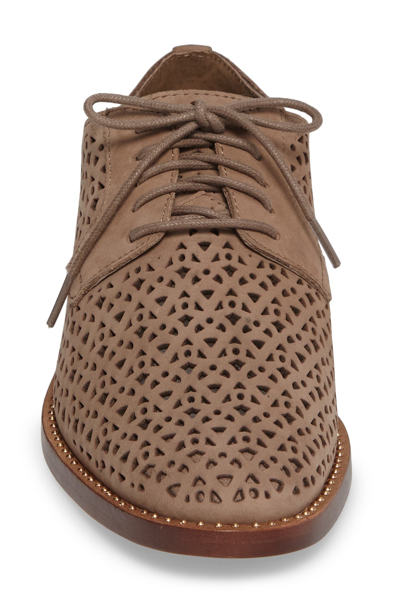 Lesta Geo Perforated Oxford,                             Alternate thumbnail 4, color,                             French Taupe Suede