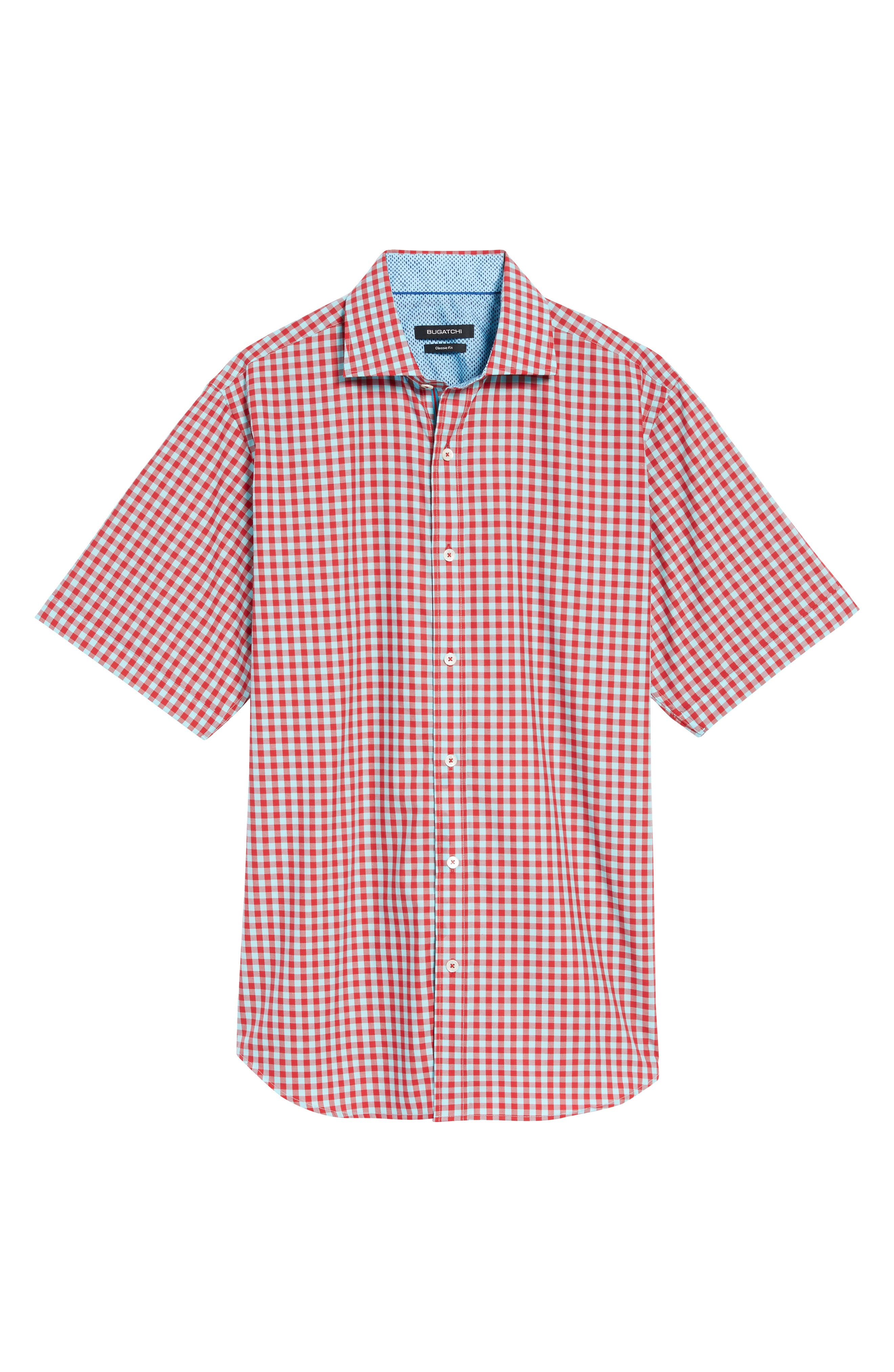 Classic Fit Gingham Short Sleeve Sport Shirt,                             Alternate thumbnail 6, color,                             Ruby
