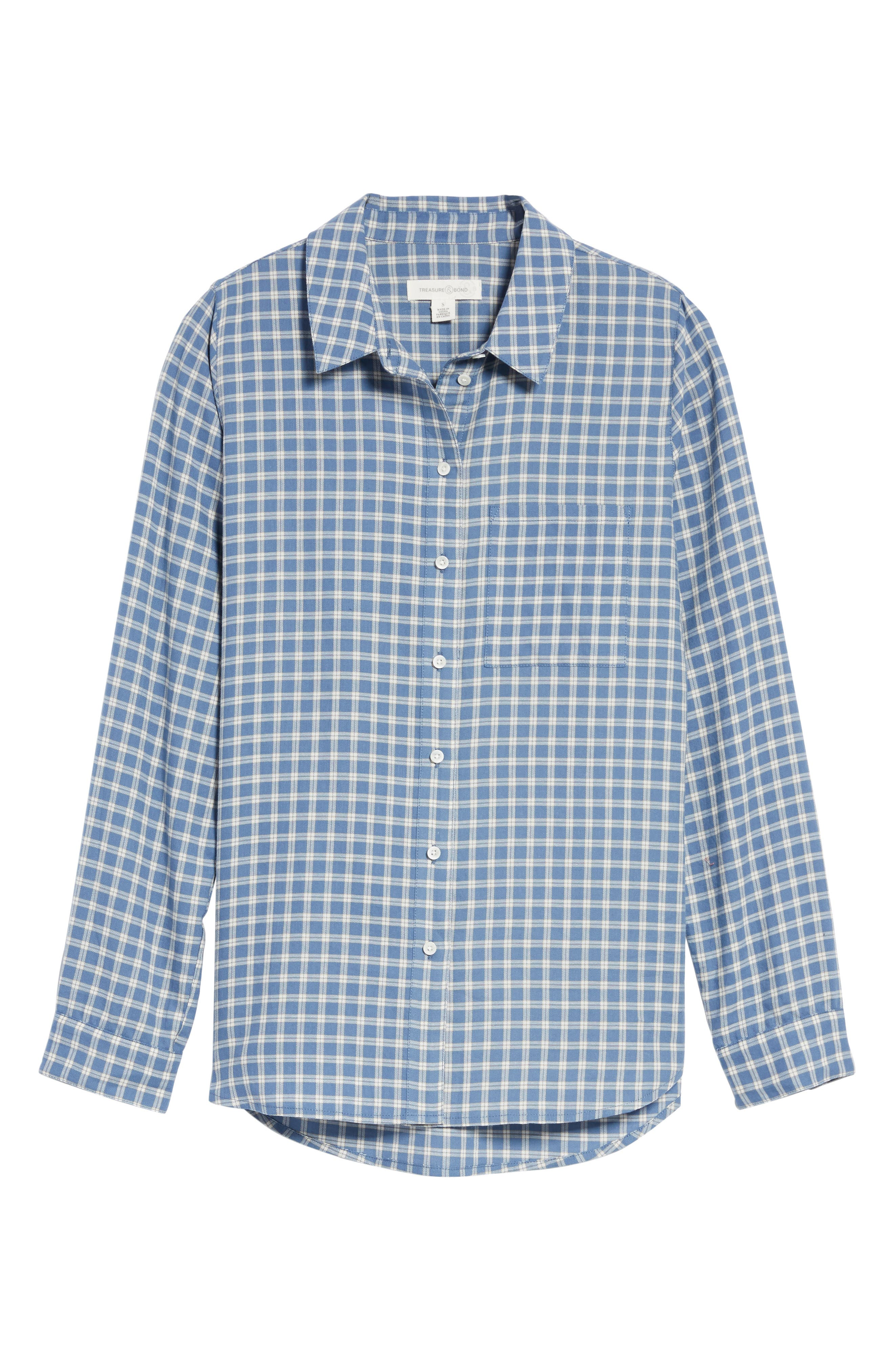 Classic Plaid Shirt,                             Alternate thumbnail 6, color,                             Blue Moonlight Grid Check