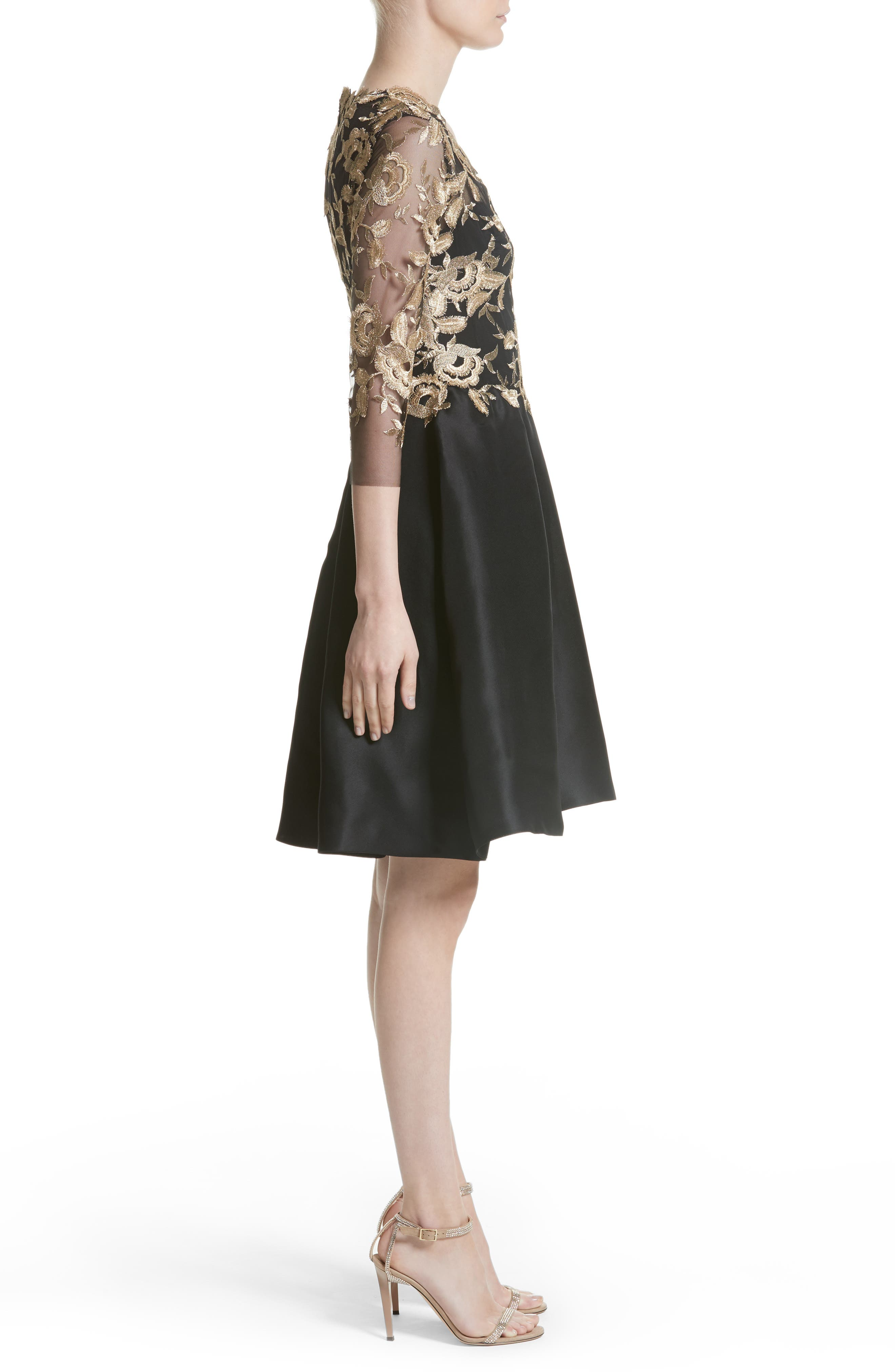 Embroidered Gazar Fit & Flare Dress,                             Alternate thumbnail 4, color,                             Noir/ Gold