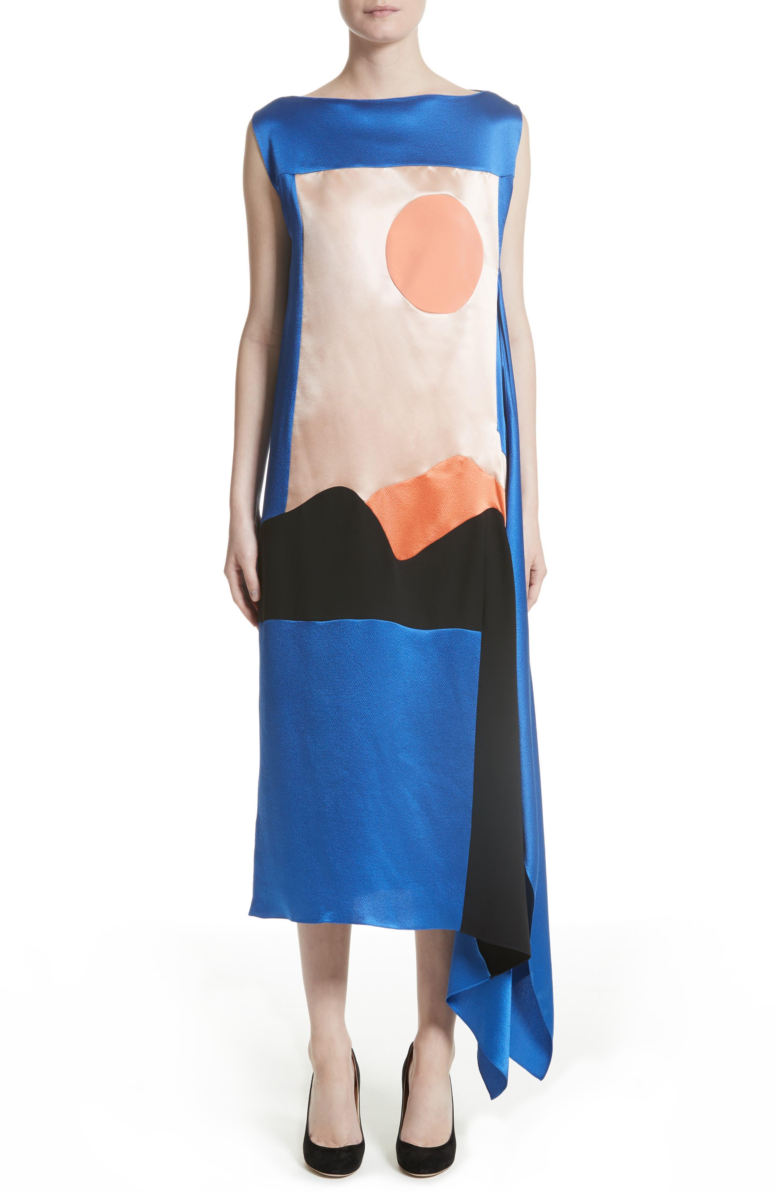 Nakato Hammered Silk, Satin and Crêpe de Chine Midi Dress,                         Main,                         color, Blue/ Black/ Blush/ Apricot