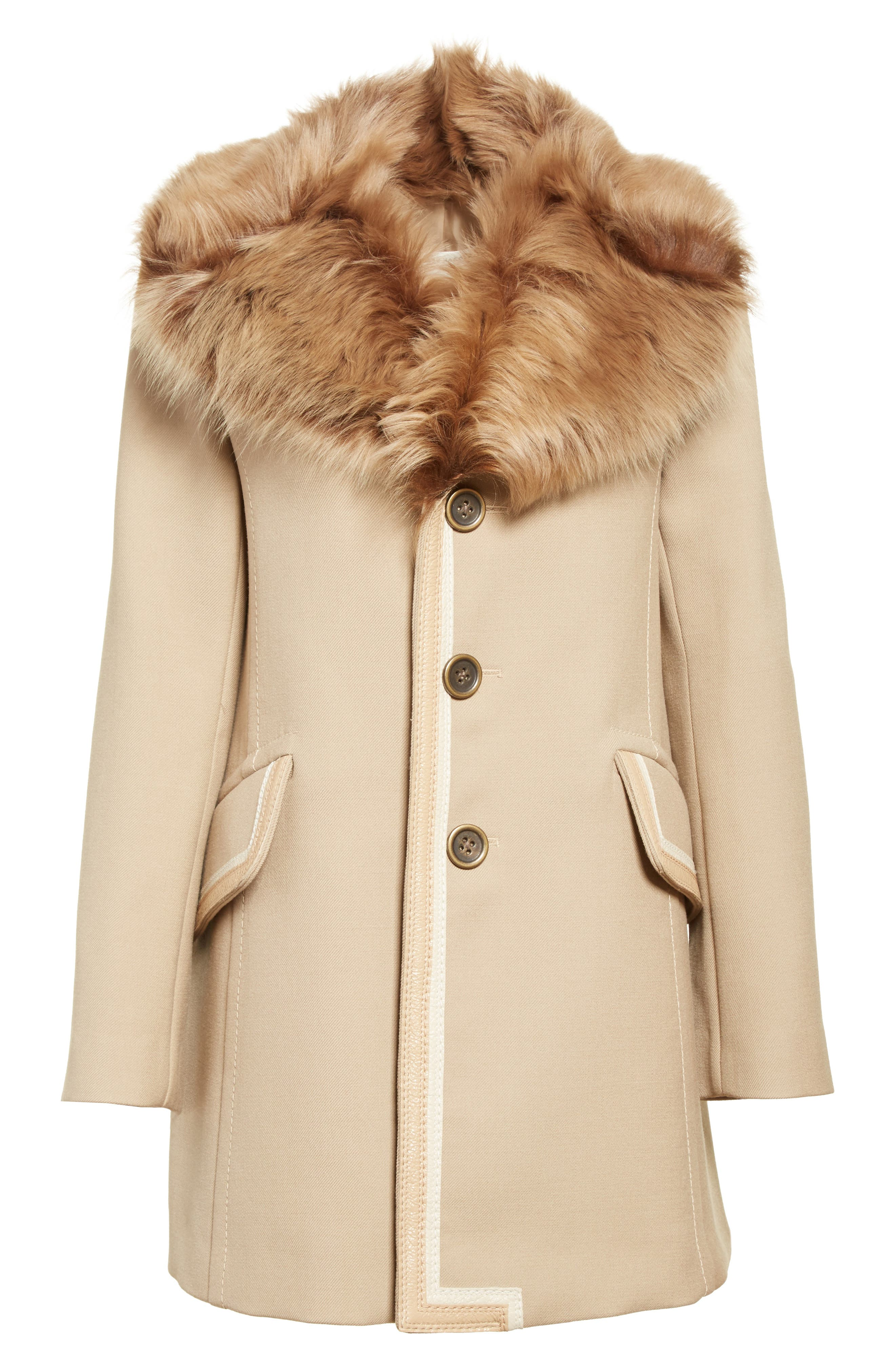 Double Face Wool Blend Coat with Removable Genuine Lamb Fur Collar,                             Alternate thumbnail 7, color,                             Beige