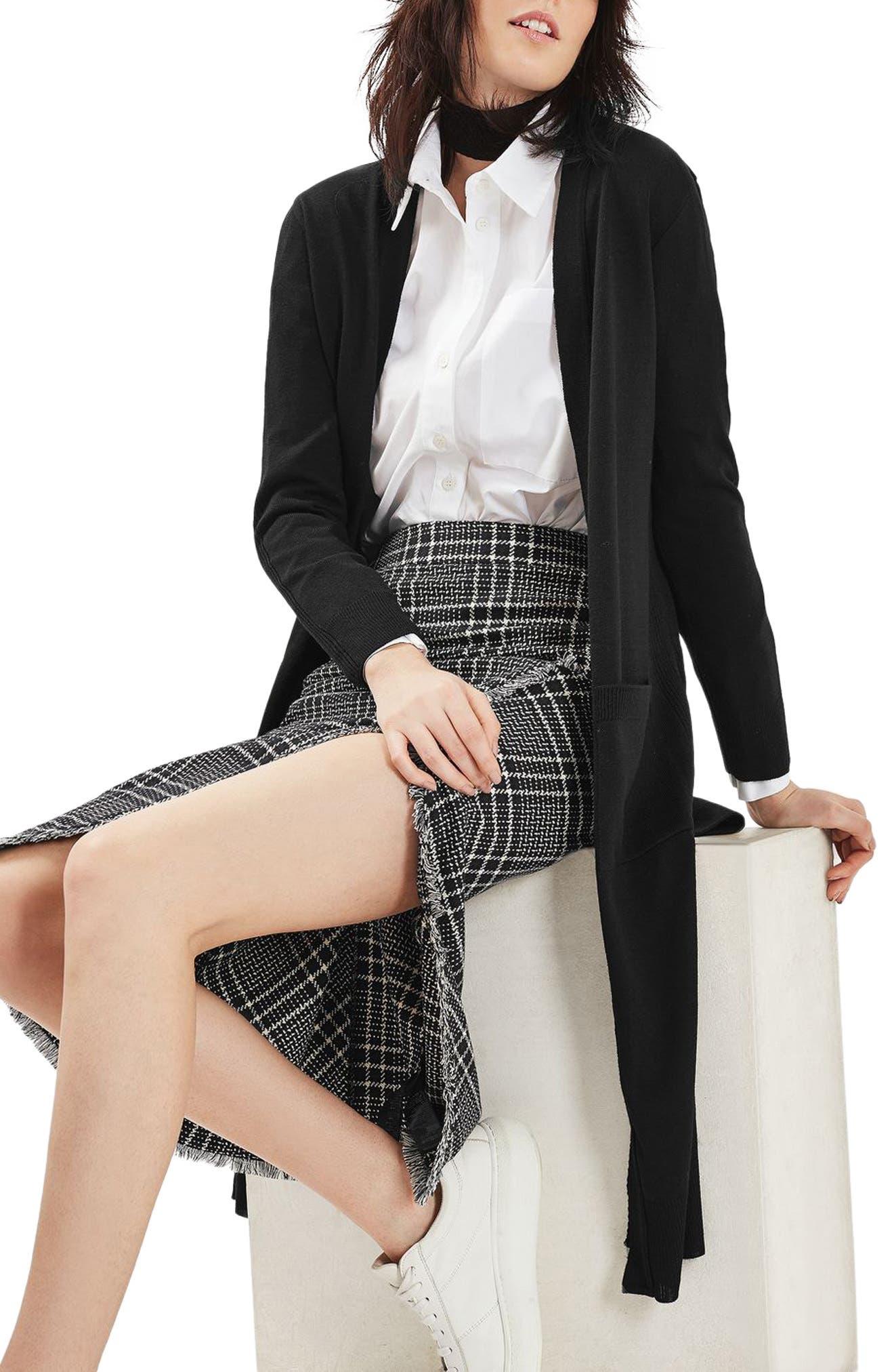 Longline Open Cardigan,                         Main,                         color, Black