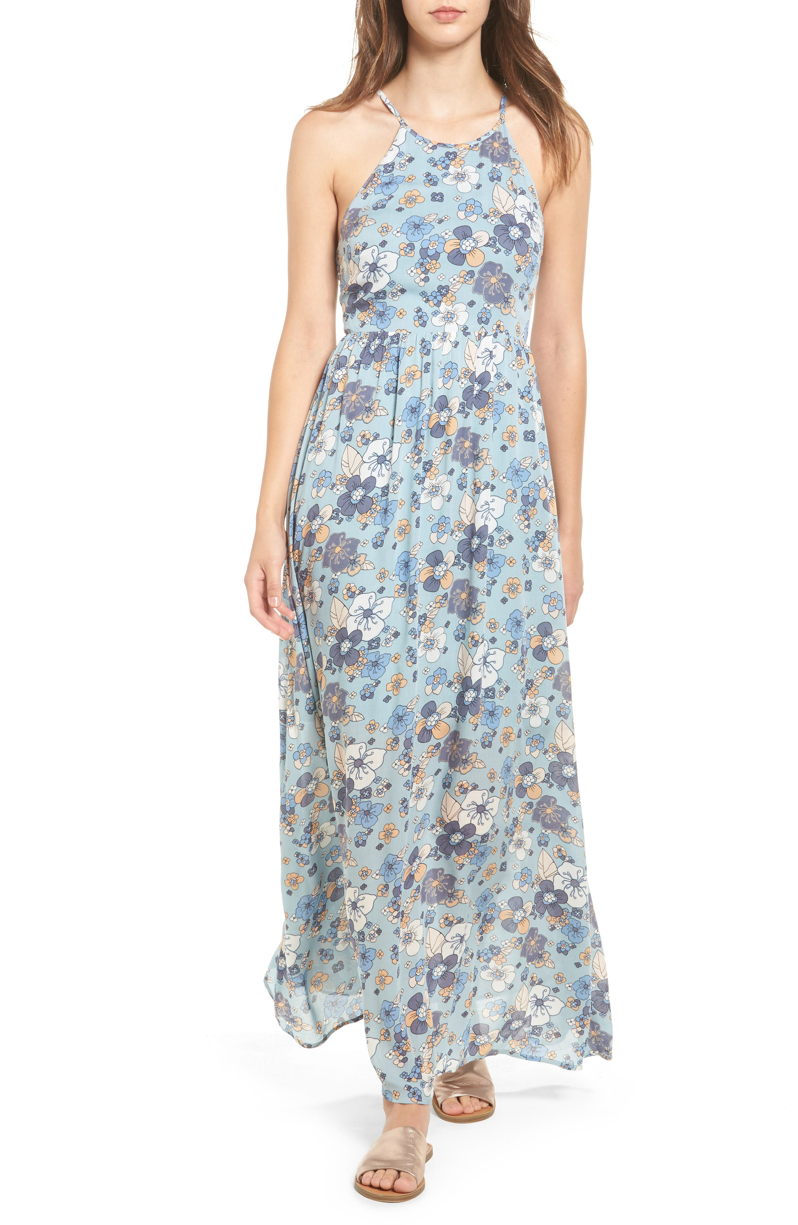 MOON RIVER Floral Print Maxi Dress