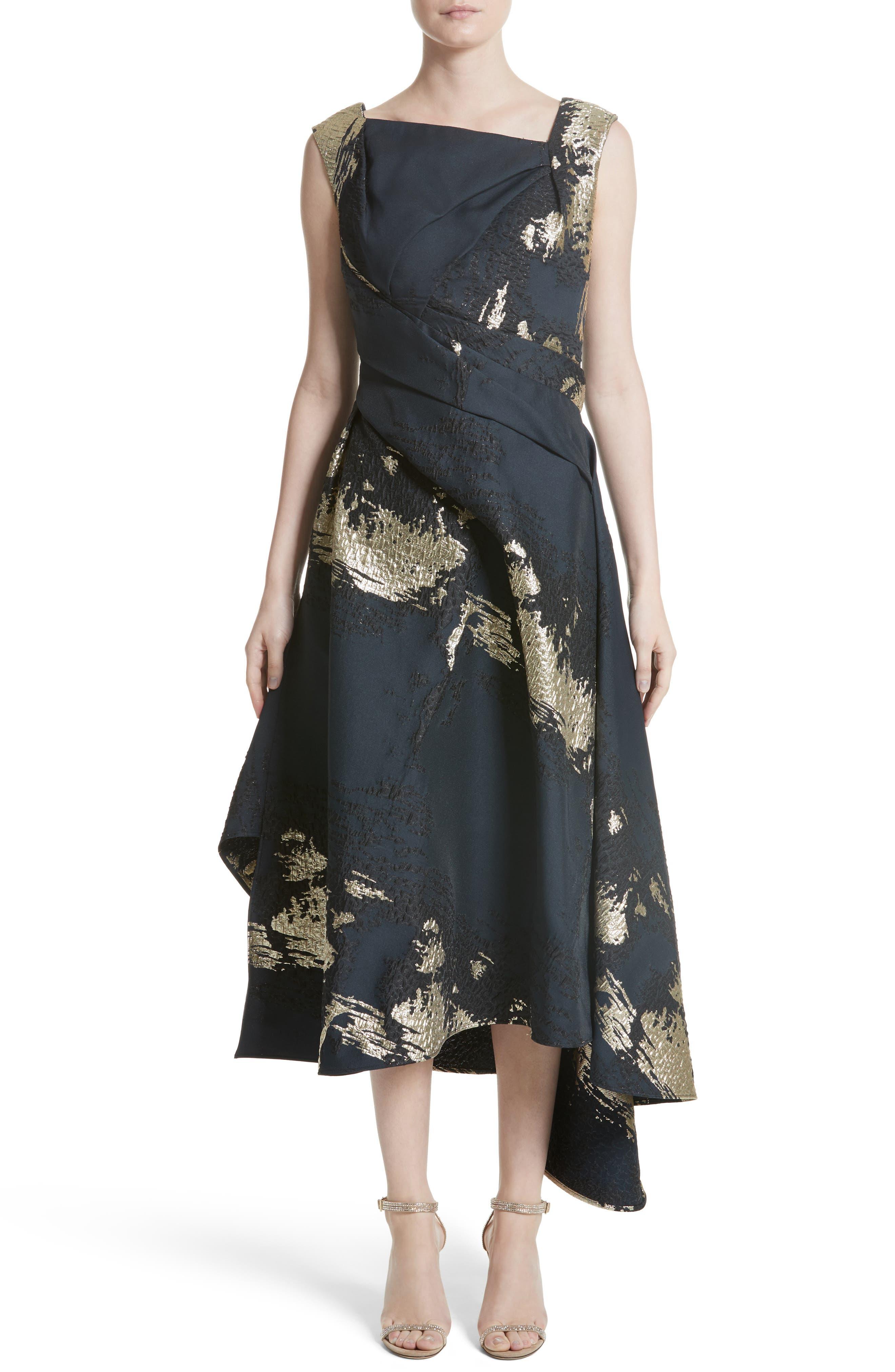 Jacquard Draped Asymmetrical Dress,                         Main,                         color, Navy