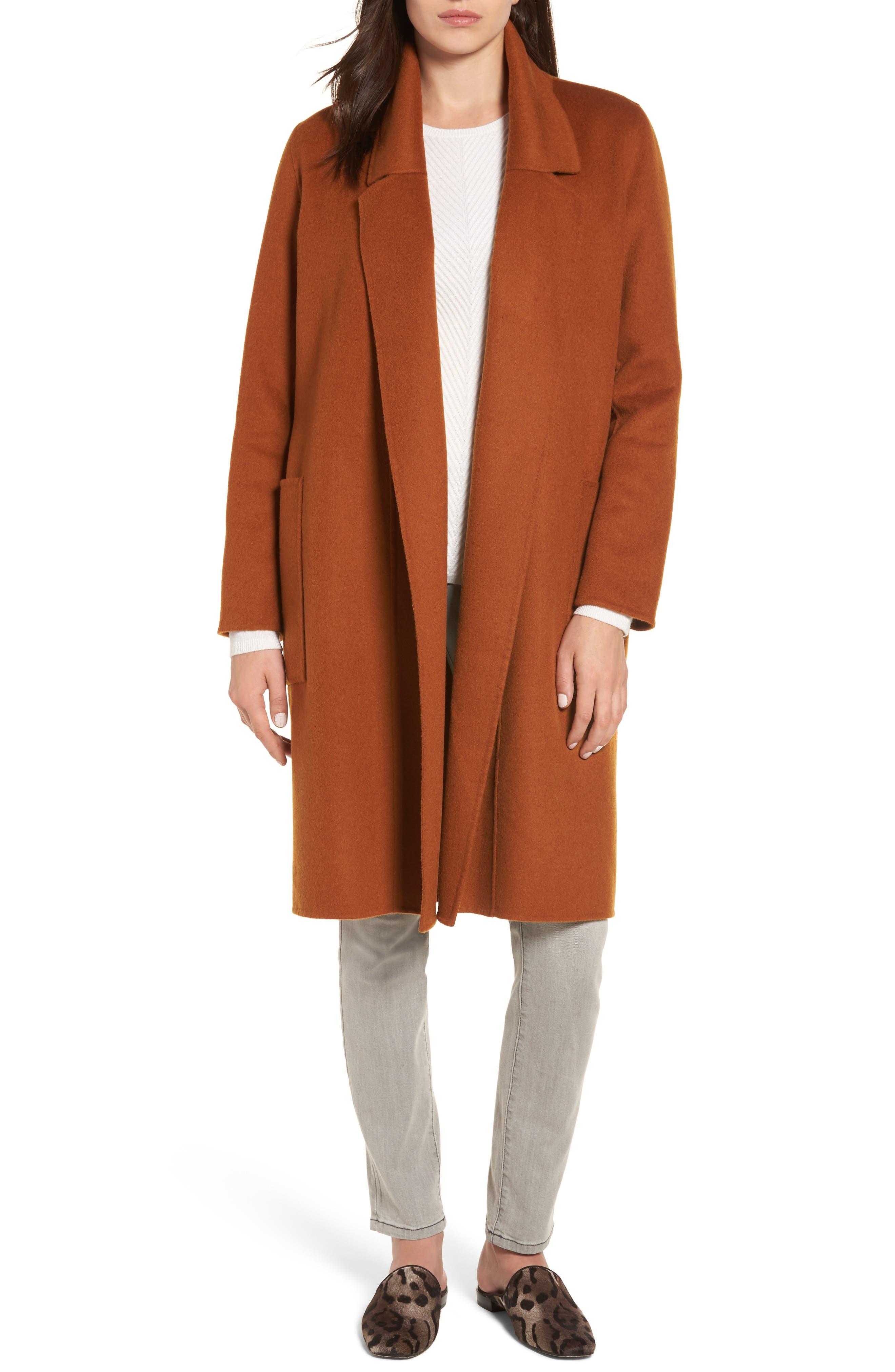 Ellie Notch Wool & Cashmere Duster Coat,                         Main,                         color, Cinnamon