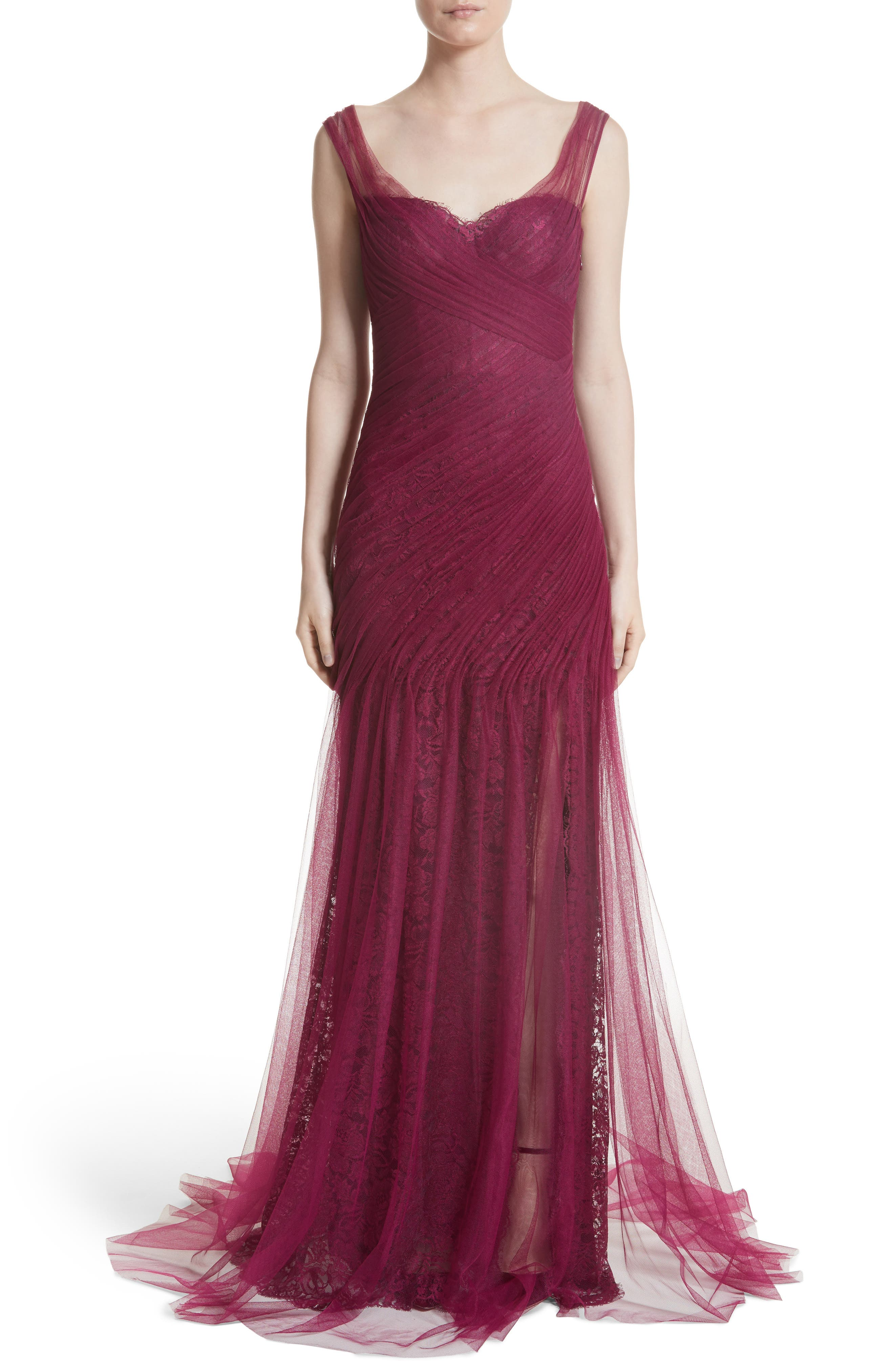 Draped Tulle & Lace Gown,                         Main,                         color, Dark Cherry