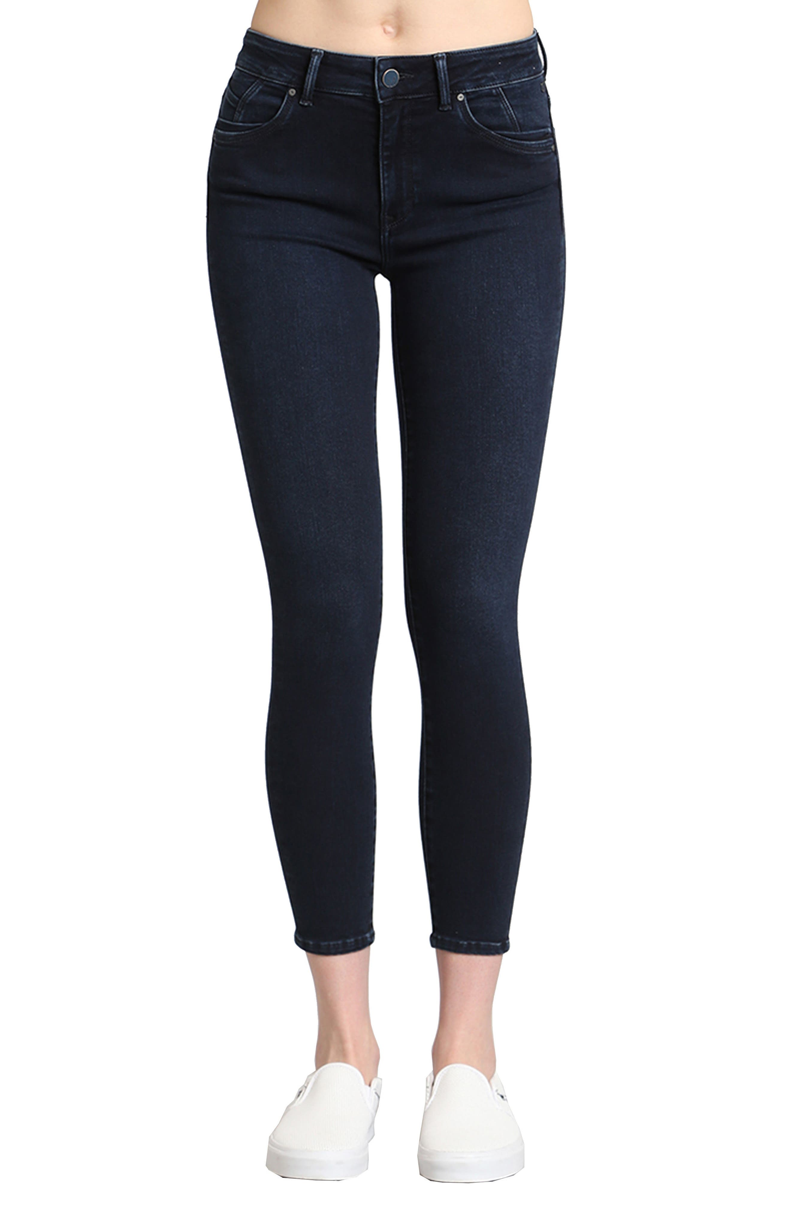 Tess Stretch Ankle Skinny Jeans,                             Main thumbnail 1, color,                             Ink Brushed Indigo Move