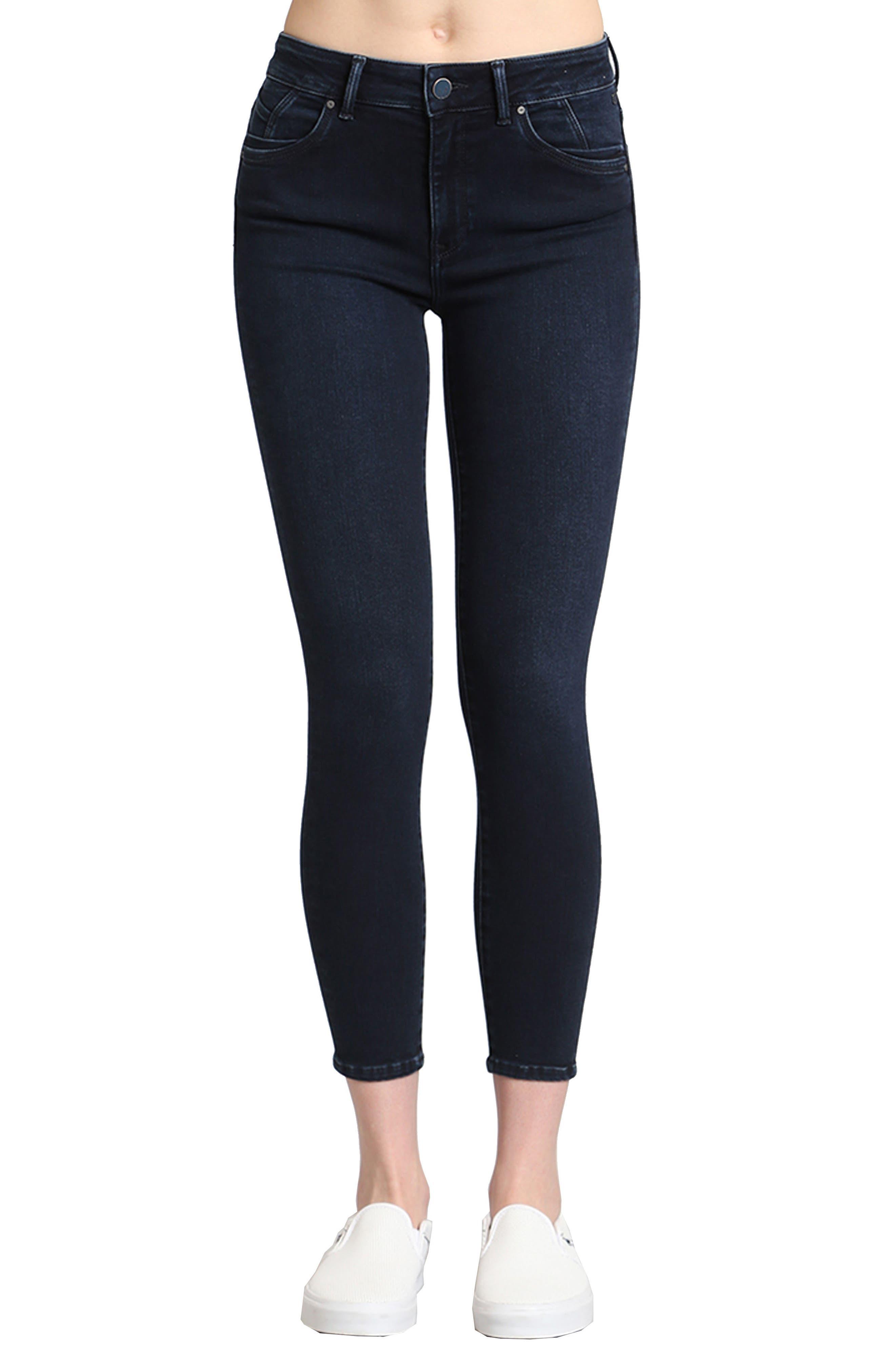 Main Image - Mavi Jeans Tess Stretch Ankle Skinny Jeans (Ink Brushed Indigo Move)