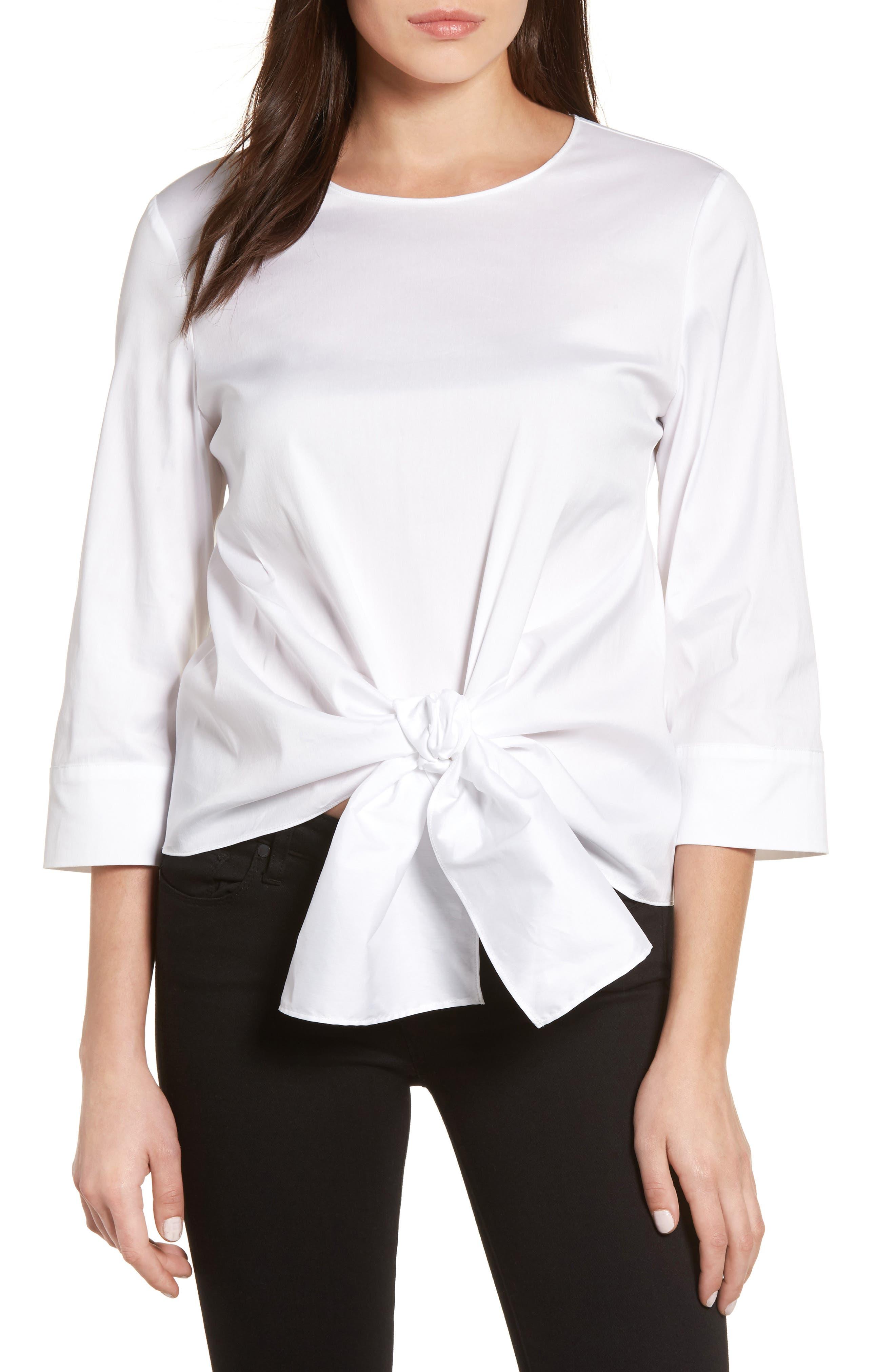 Halogen® Tie Front Blouse (Regular & Petite)