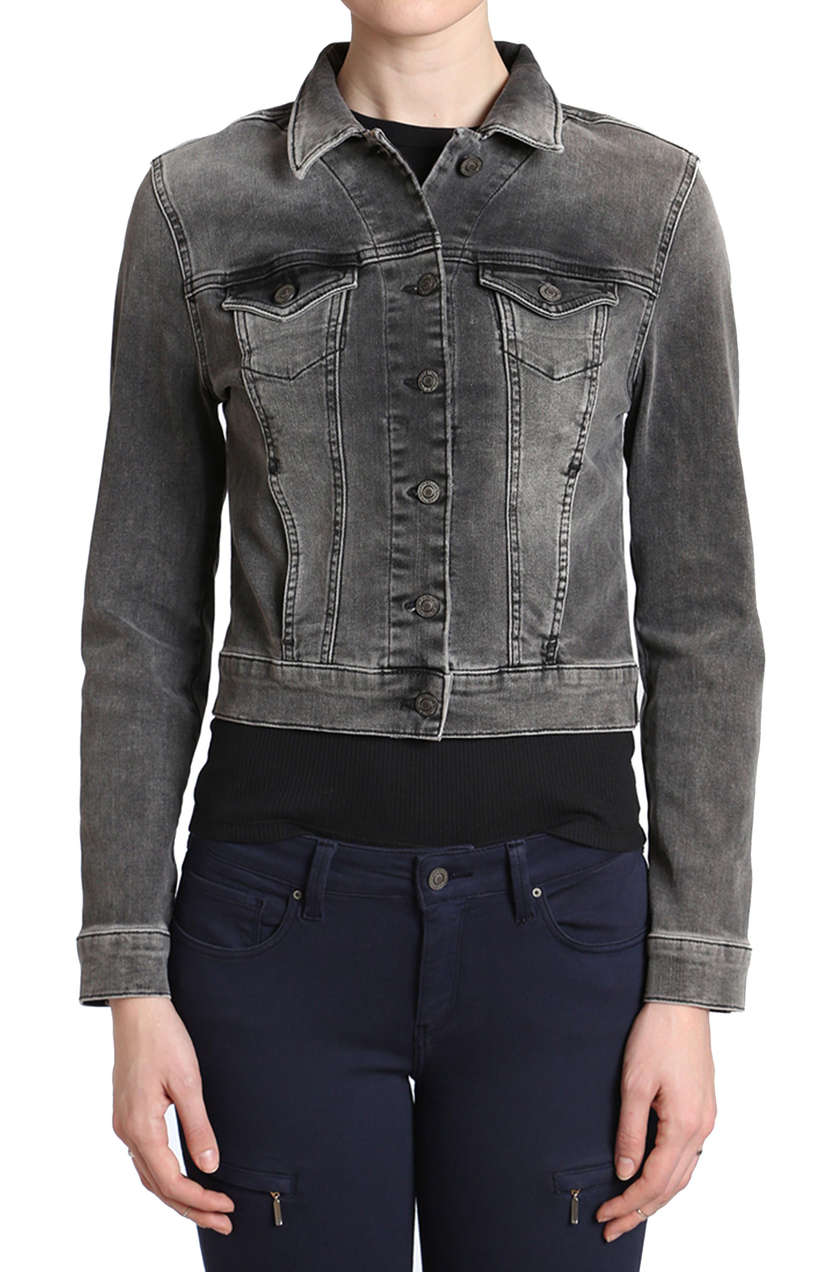 Samantha Denim Jacket,                         Main,                         color, Smoke Vintage