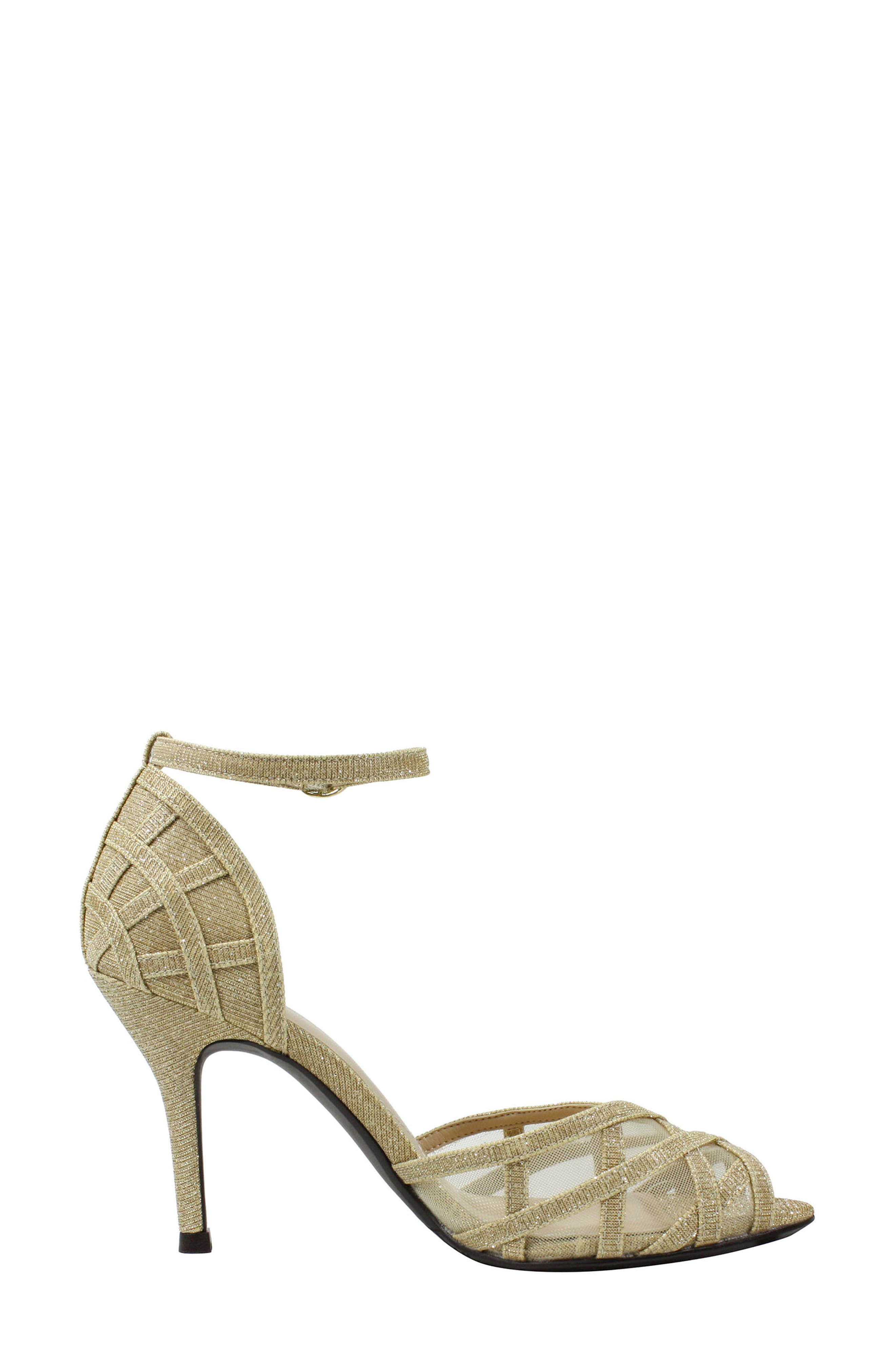 Mataro Embellished Ankle Strap Pump,                             Alternate thumbnail 3, color,                             Gold Fabric