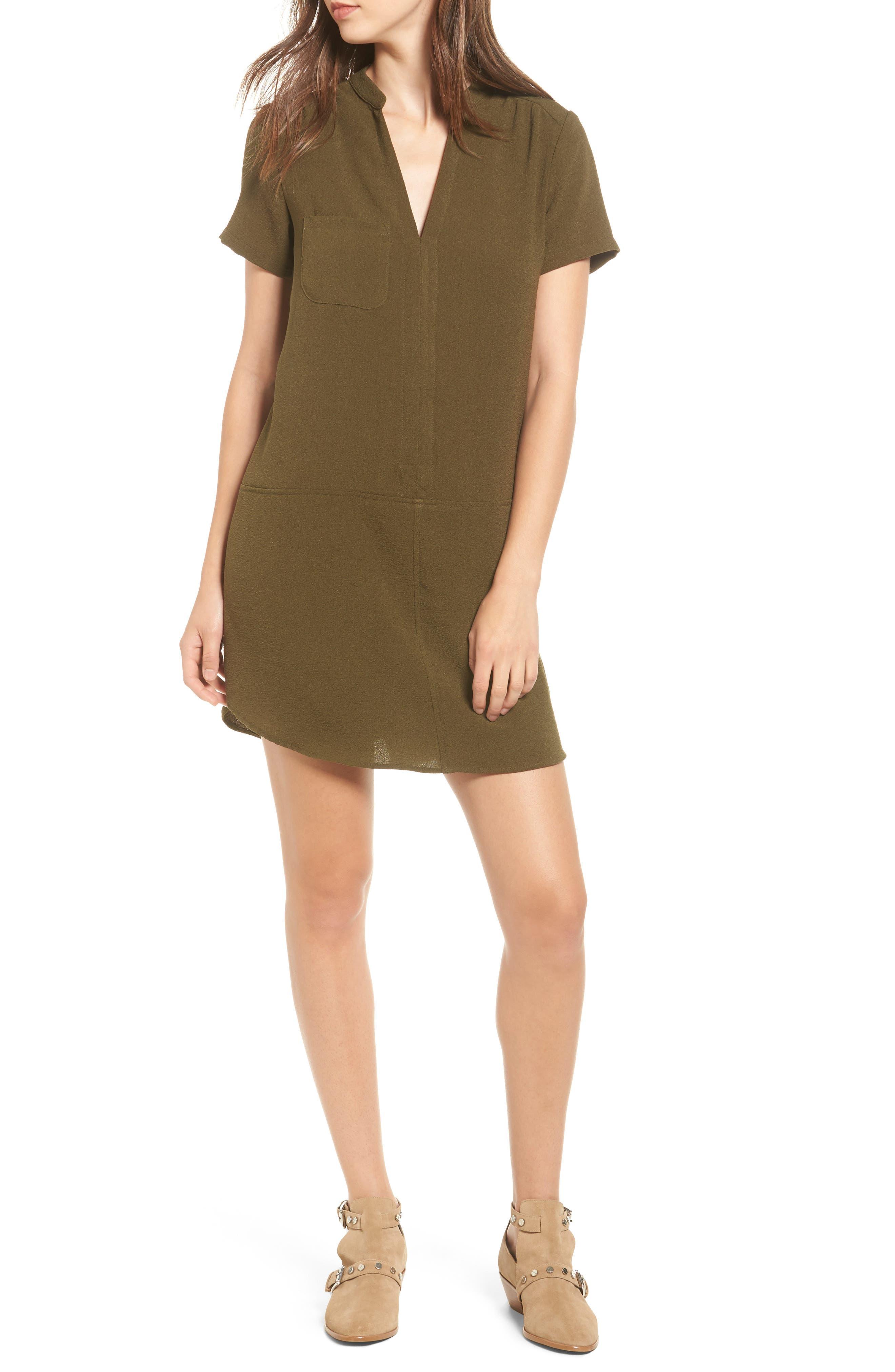 Hailey Crepe Dress,                             Main thumbnail 1, color,                             Olive